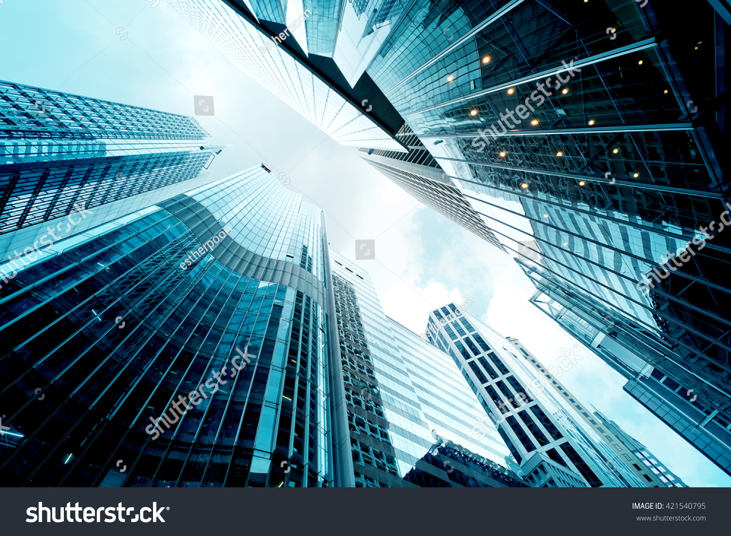 Low Angle View Of Modern Office Buildings Photo: Low Angle View Of Office Buildings Stock Photo 421540795
