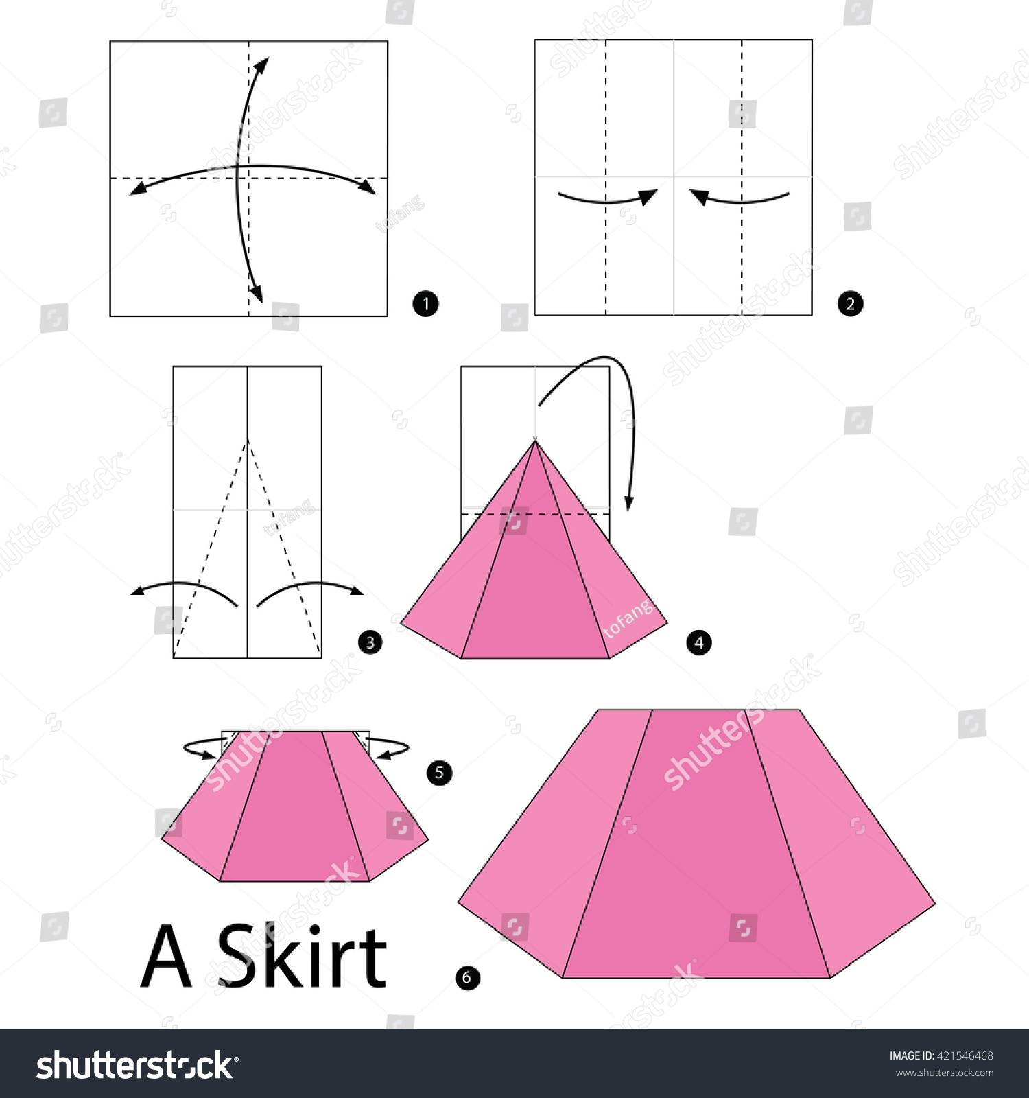 Step by step instructions how to make origami an one piece dress.