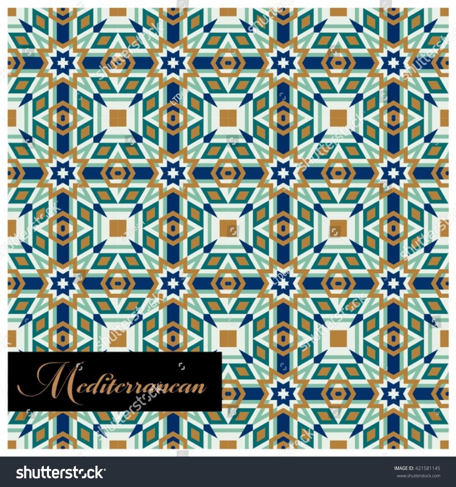 Classic Mediterranean Inspired Tile Floor Seamless Stock Vector ...