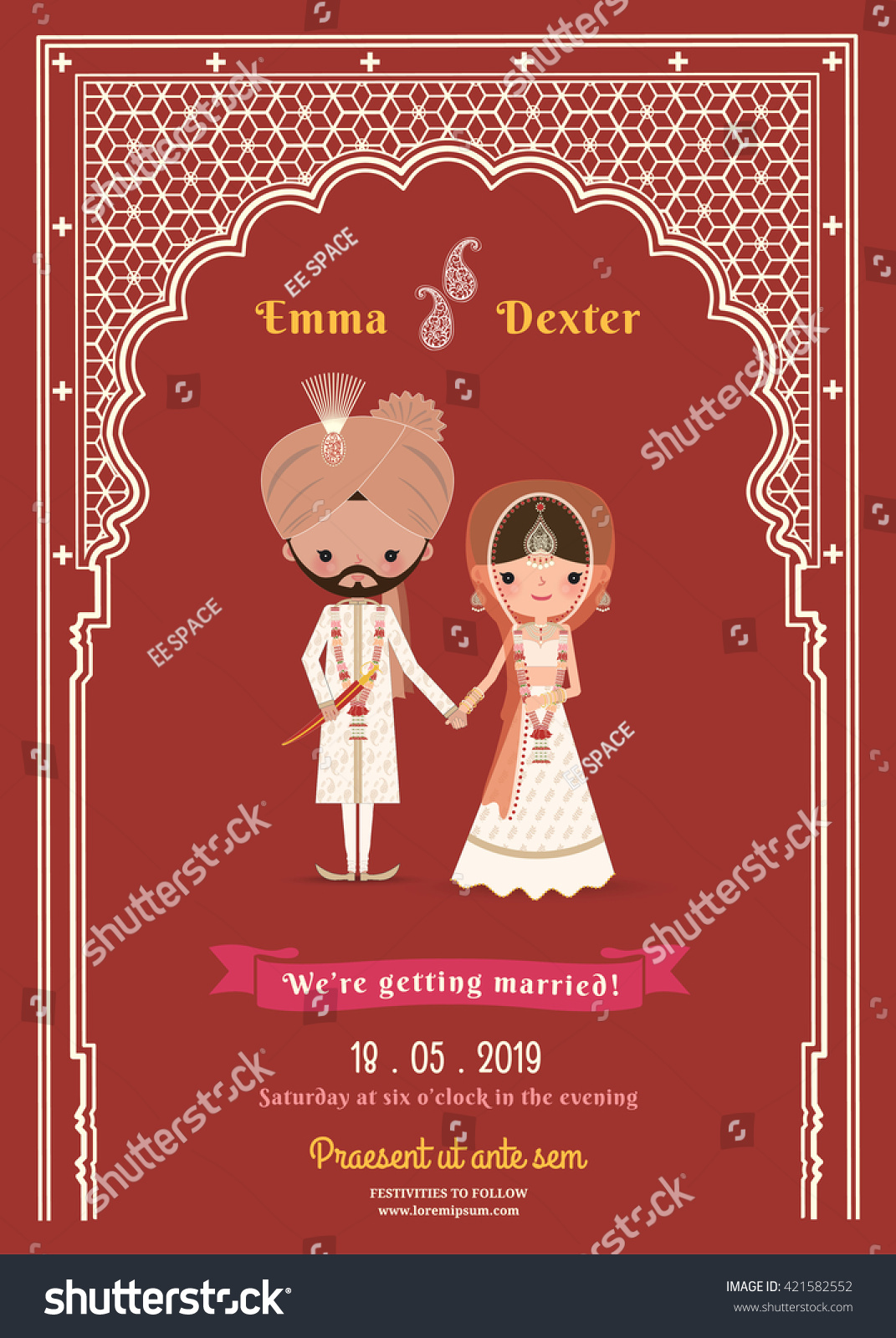 Indian Wedding Bride Groom Cartoon Save Stock Vector 421582552 ...