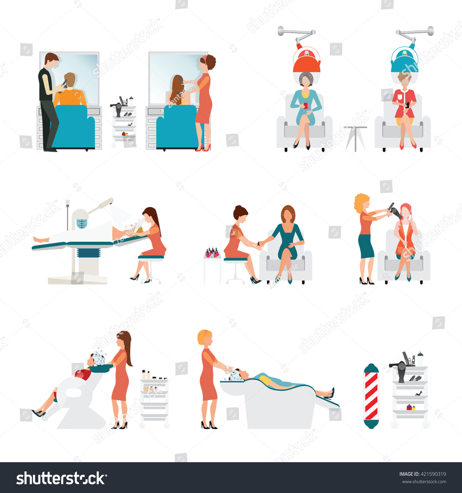 Hair salon chair isolated stock photos illustrations and vector art -  Vectors Illustrations Footage Music Hair Beauty Salon With Hairdresser And Customer Hair Curl Rollers Washing Hair Hair