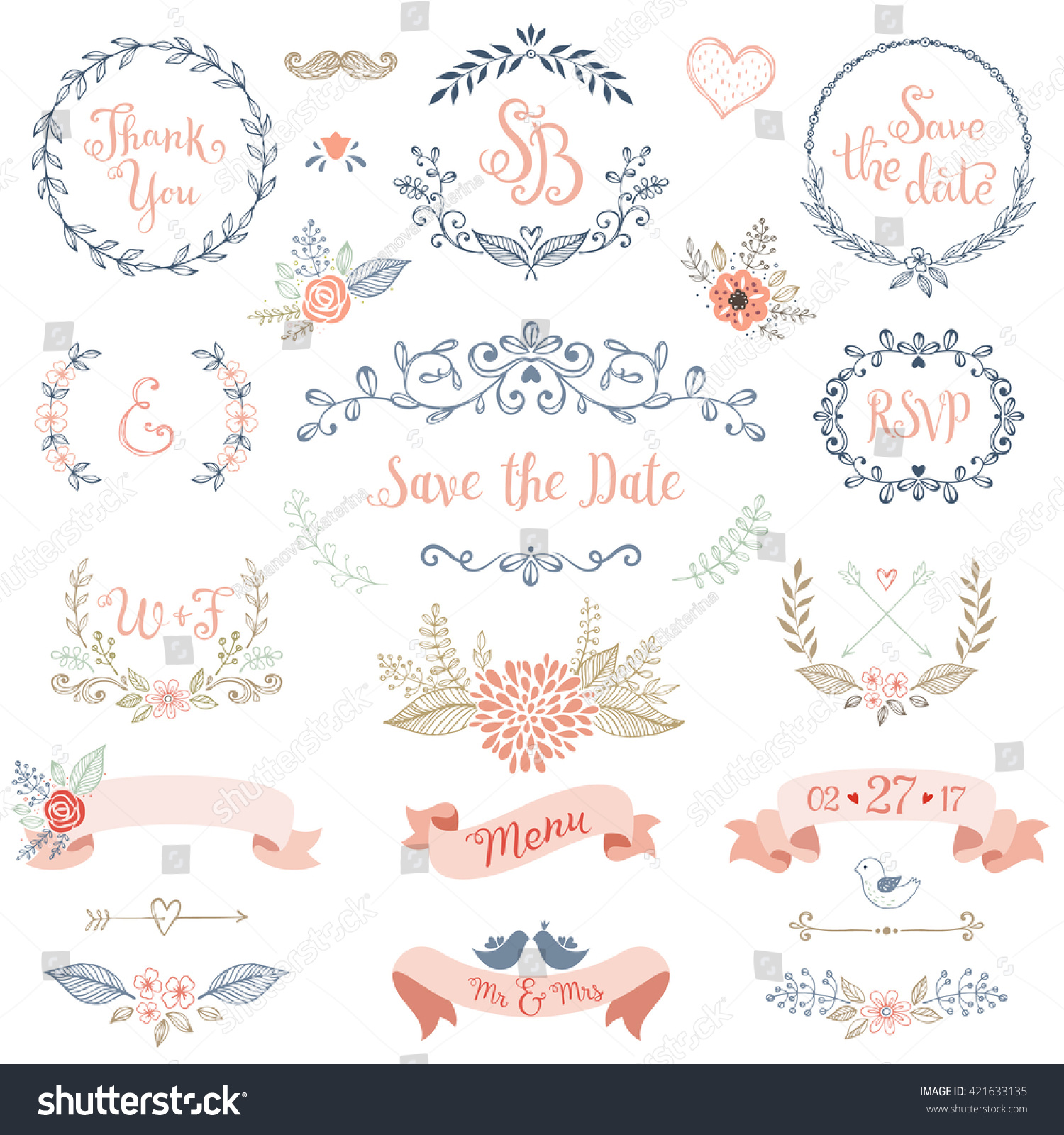 Rustic hand sketched wedding elements set. Floral doodles, branches, flowers, birds, laurels, banners and frames. Good for Save the Date cards, Wedding invitations, Thank You cards and RSVP cards. #421633135