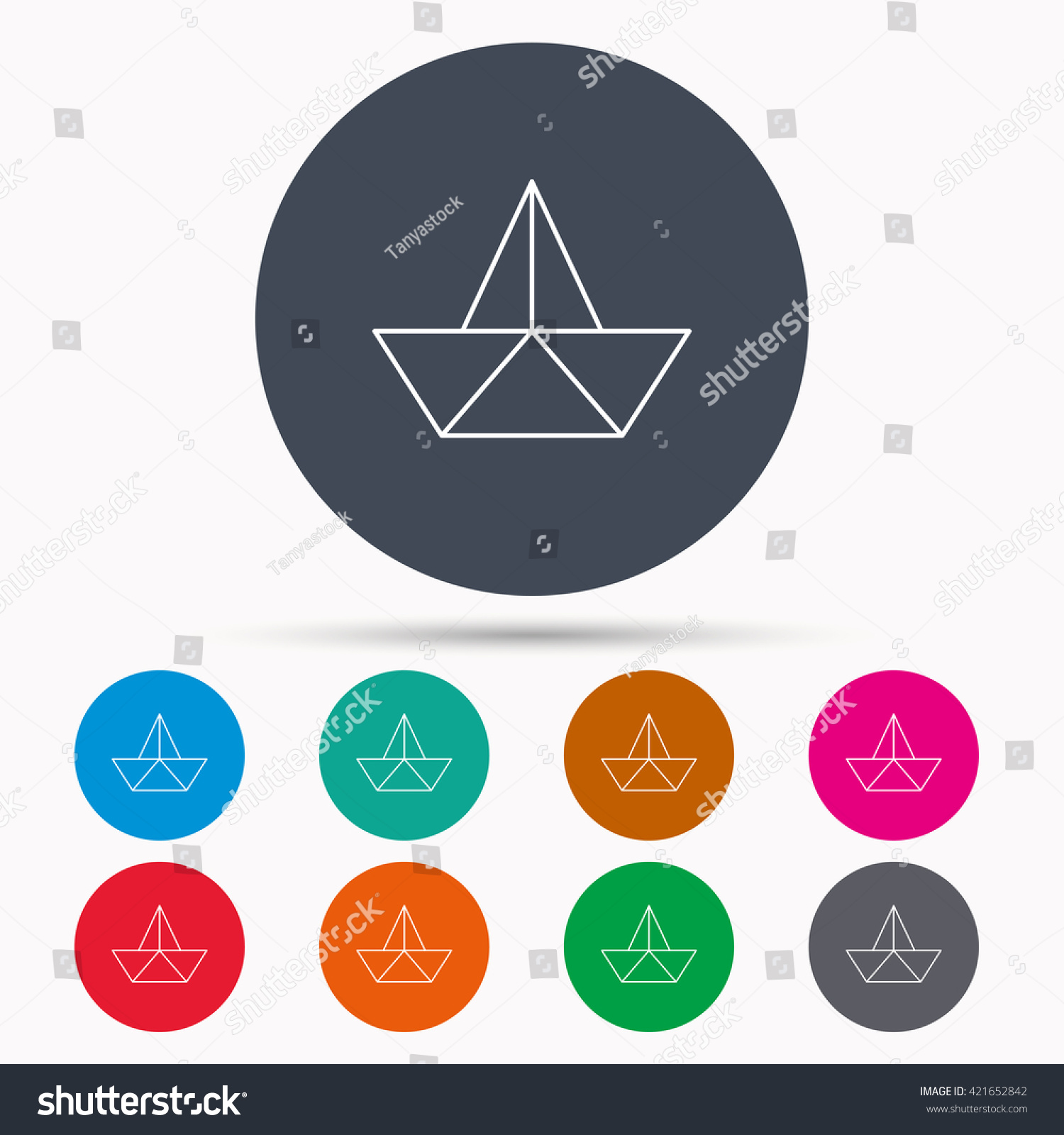 Paper boat icon origami ship sign stock vector 421652842 paper boat icon origami ship sign sailing symbol icons in colour circle buttons buycottarizona