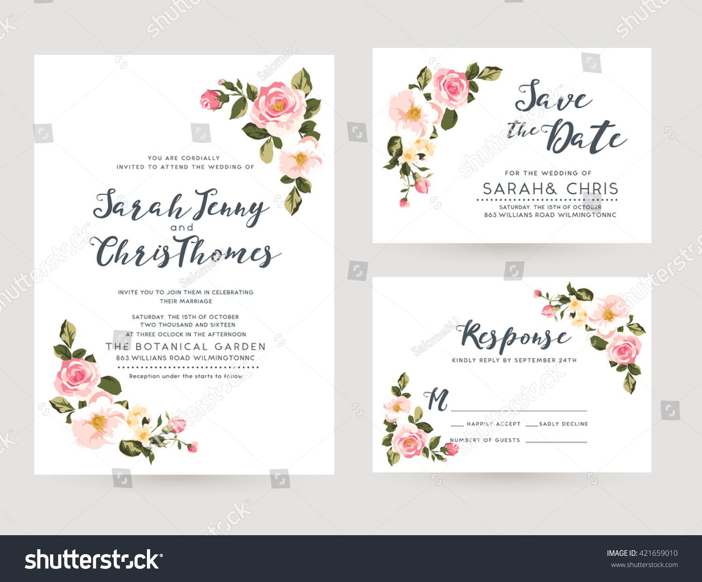 Wedding invitation card suite tiny romantic em vetor stock 421659010 wedding invitation card suite with tiny romantic floral templates stopboris Choice Image
