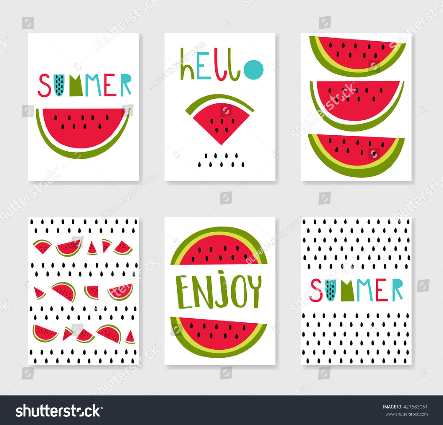 Hello summer Set of cute creative card templates with watermelons Hand Drawn For party invitations scrapbook print on T-shirts and bags