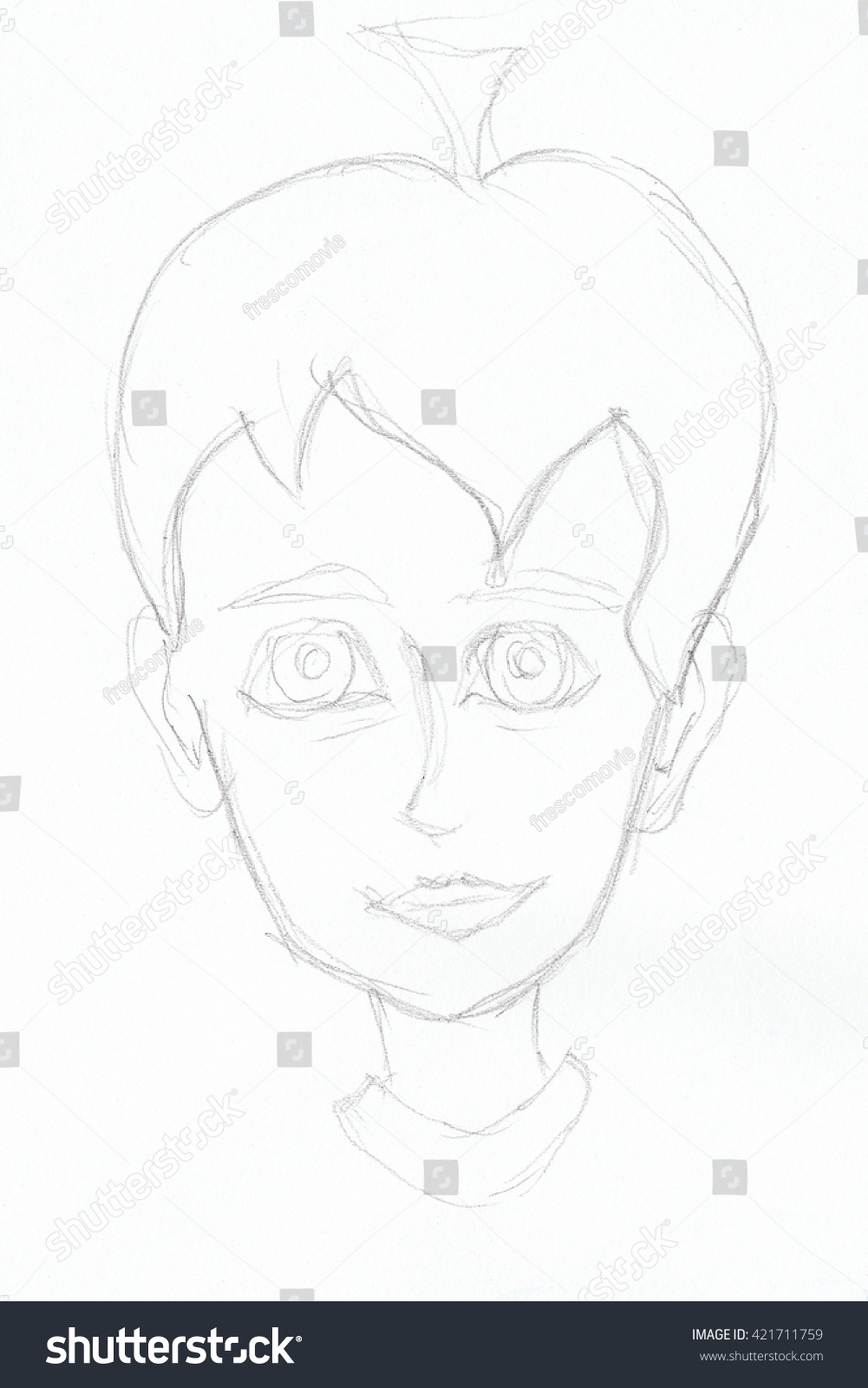 Pencil sketch of boy hand drawn illustration on white paper