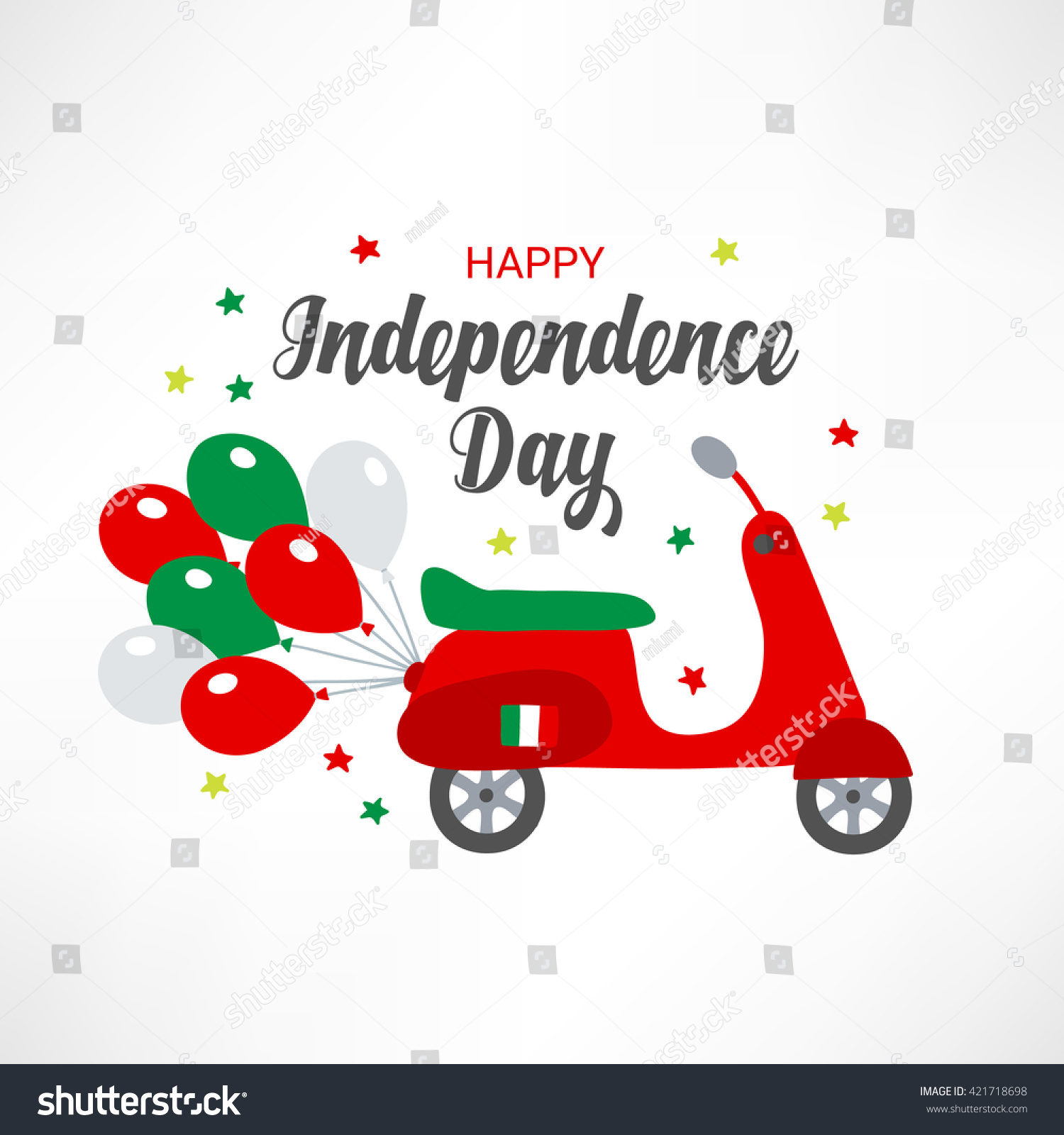 Italy independence day greeting card stars stock vector 421718698 italy independence day greeting card with stars balloons and scooter in national colors perfect kristyandbryce Images