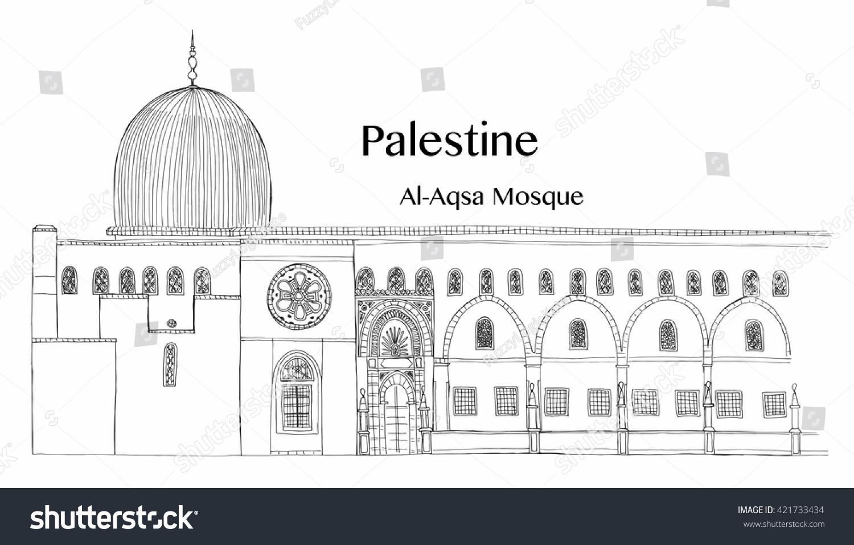 Line Art Jerusalem : Masjid al aqsa sketch pixshark images