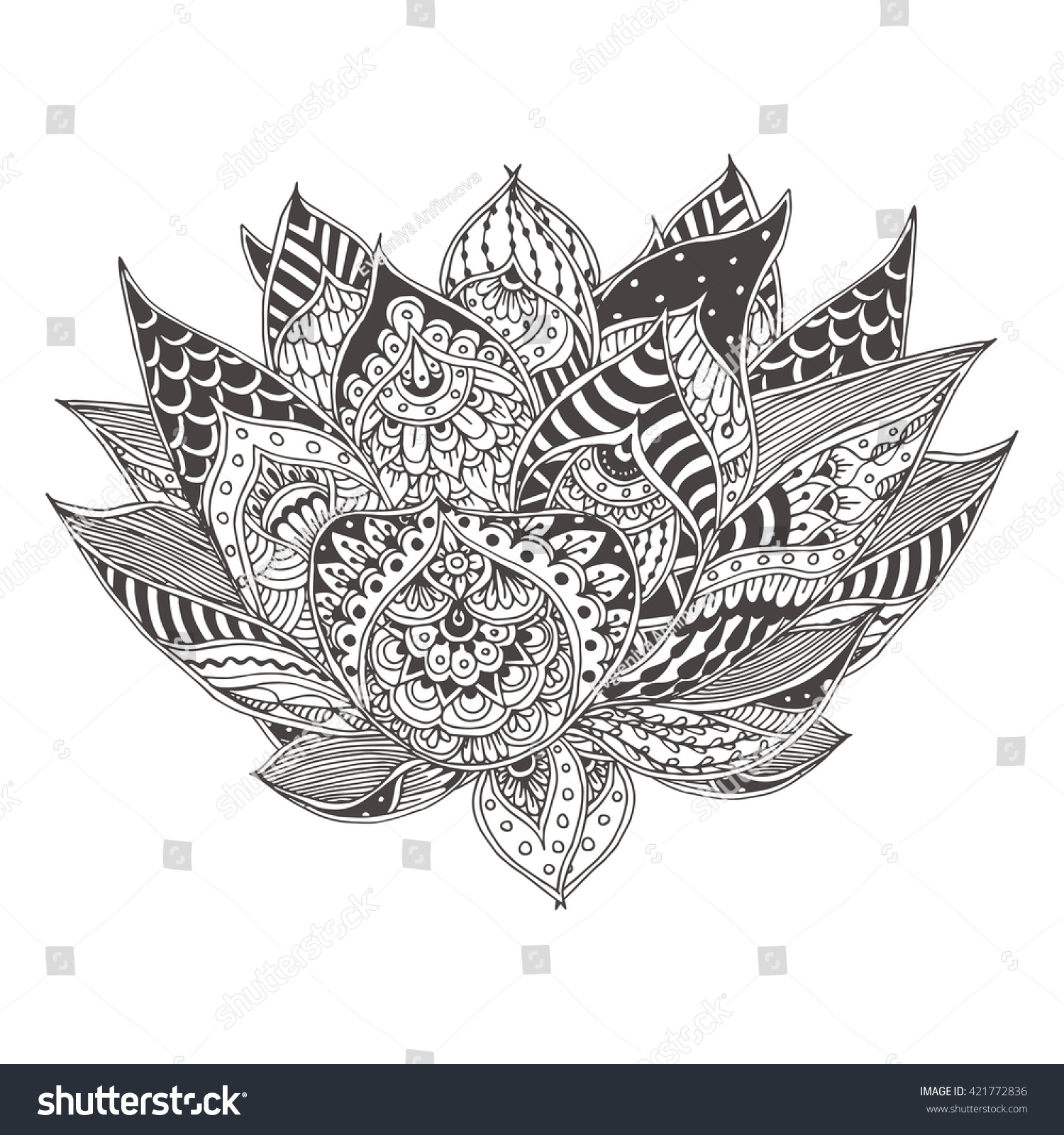 Handdrawn Lotus Flower Ethnic Floral Doodle Stock Vector 421772836 Hand Drawn With