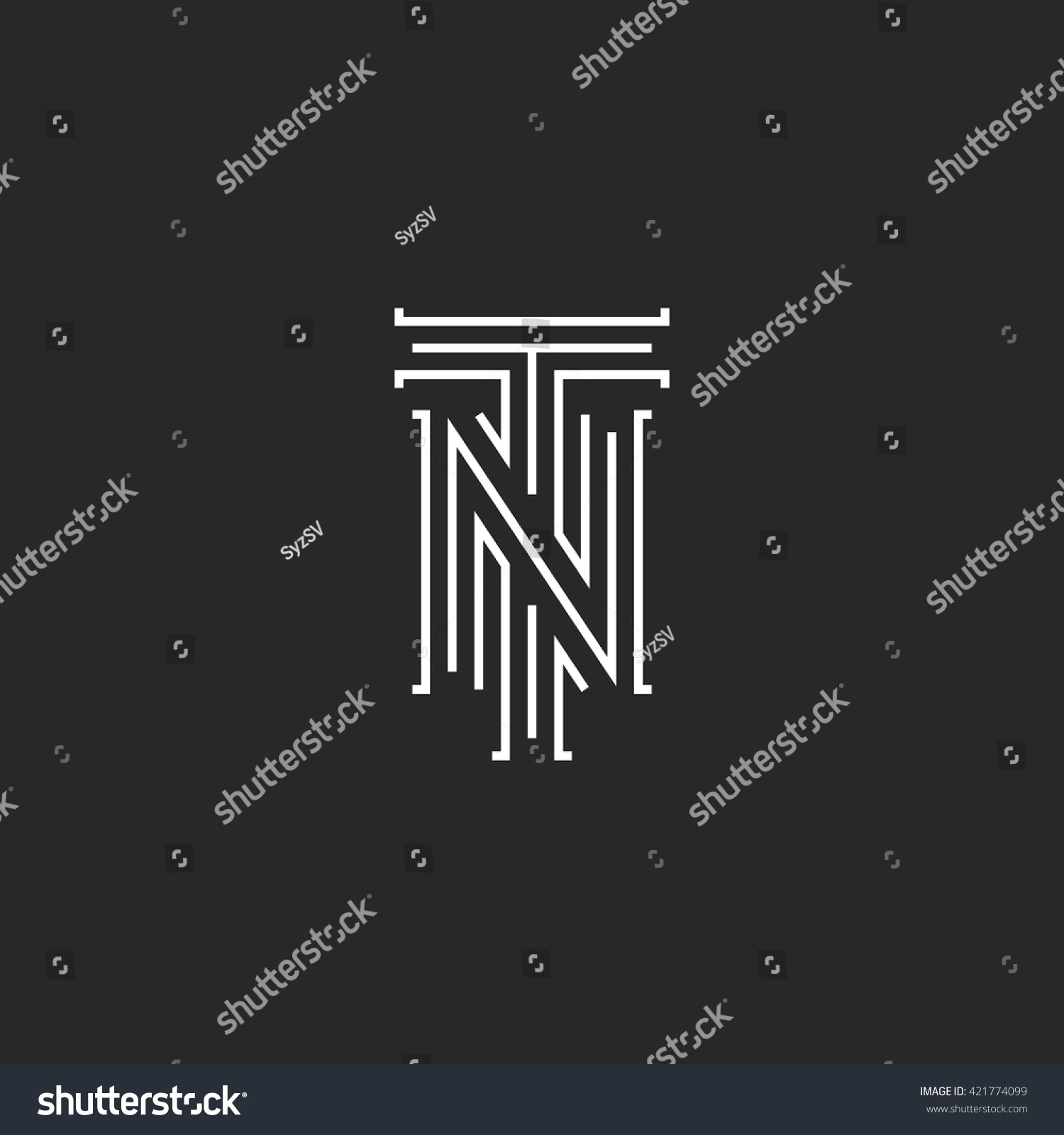 Initials Nt Letters Logo Hipster Monogram Stock Vector Royalty Free