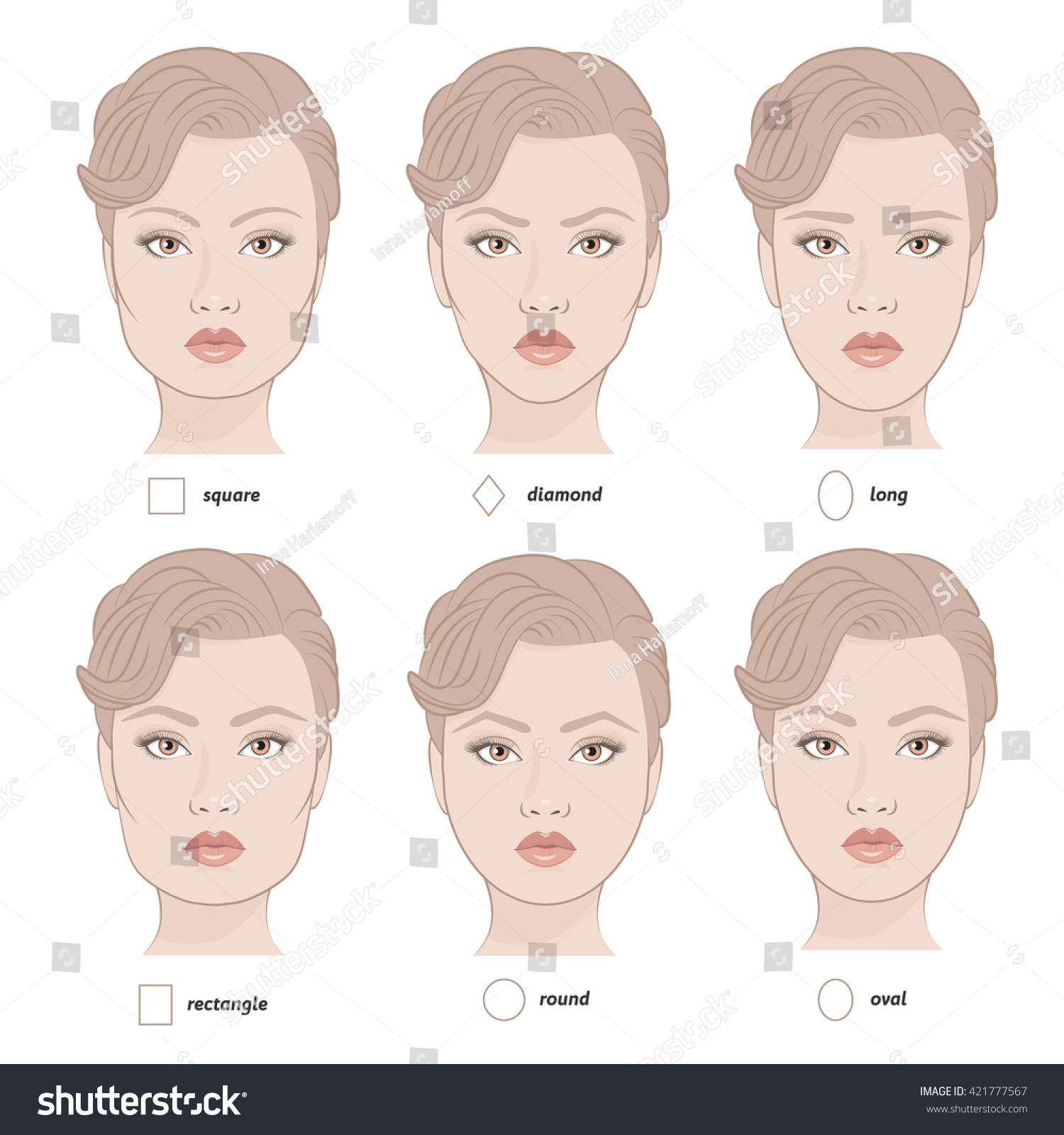 Set Vector Face Shapes Eyebrows That Stock Vector Royalty Free