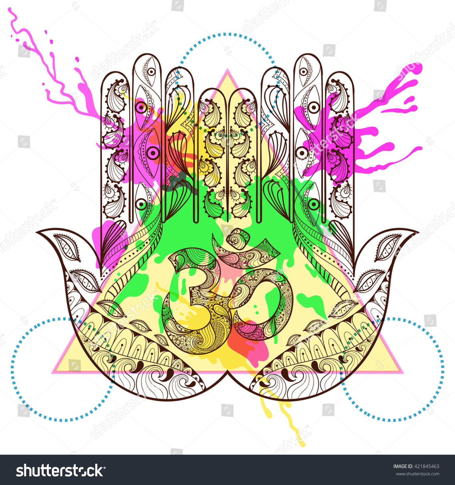 Hand drawn protection hamsa hand symbol stock illustration hand drawn protection hamsa hand with symbol ohm in zentangle henna tattoo style hamsa biocorpaavc