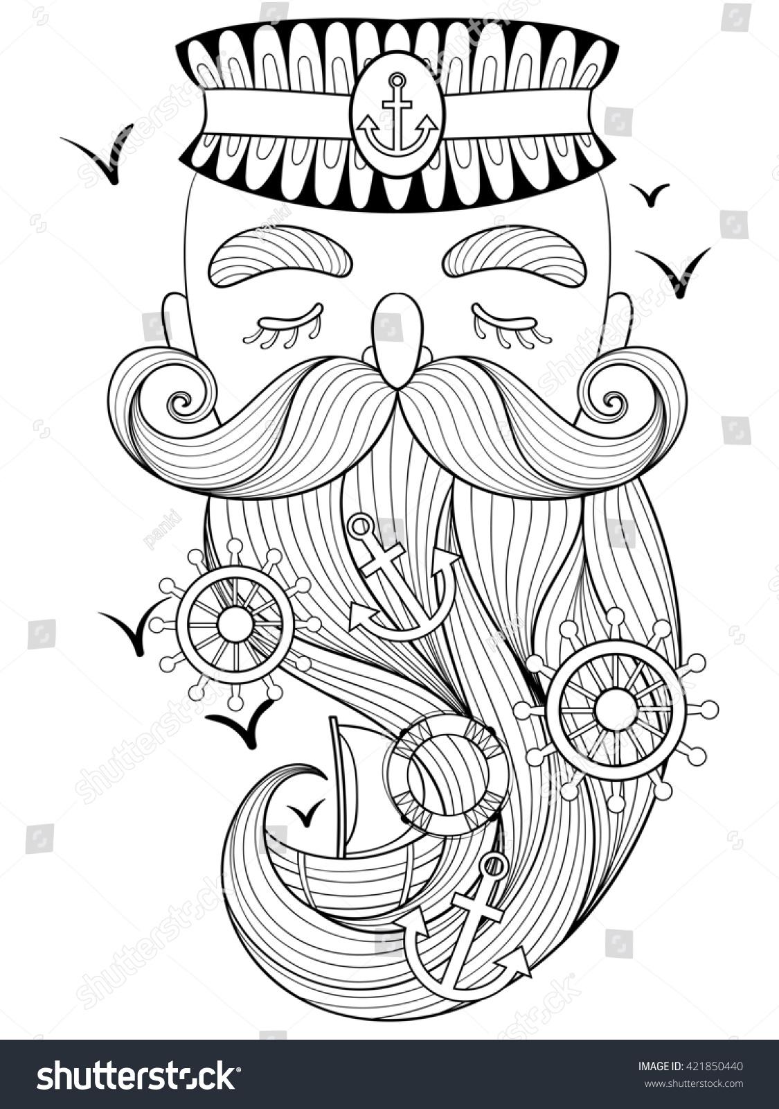 Old Sailor Illustration Captain Fisherman Seadog Stock Illustration ...