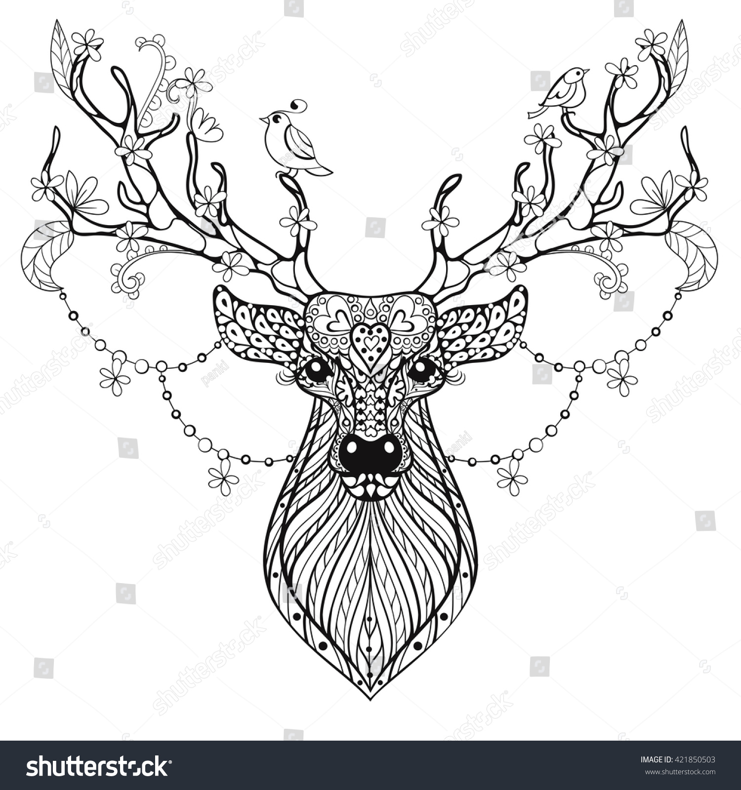 Zentangle Hand drawn magic horned Deer for adult antistress coloring ...