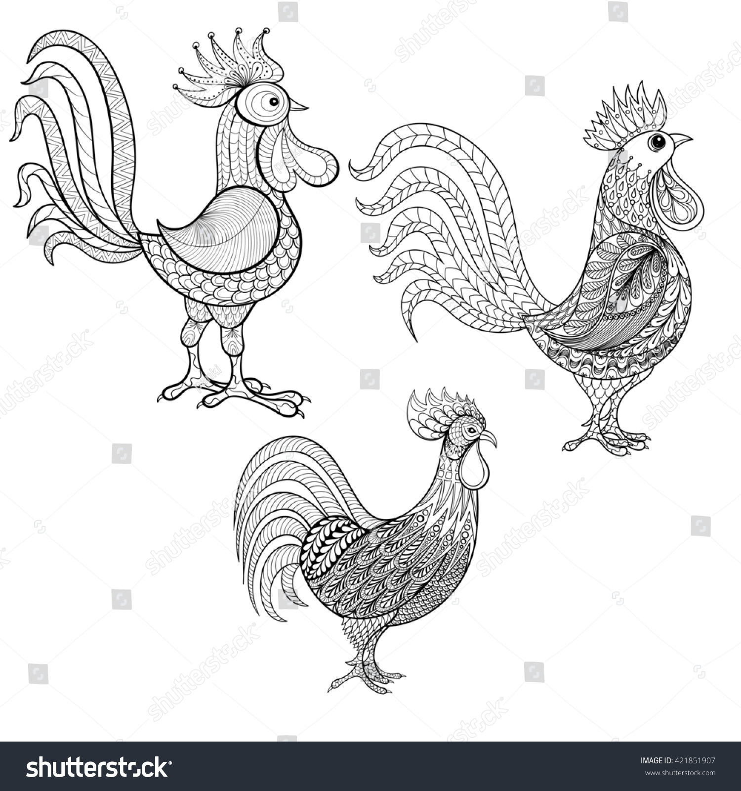 Chinese new year animal coloring pages - Set Cocks Roosters New Year 2017 Symbol Zentangle Domestic Farmer Birds For Adult