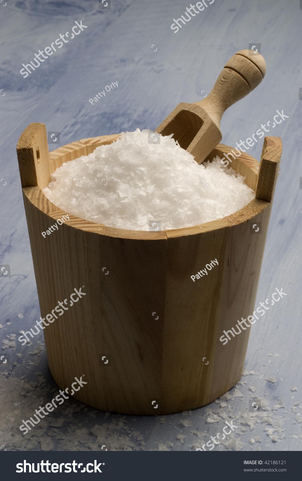 Maldon Sea Salt Wooden Bucket Blue Stock Photo (Edit Now