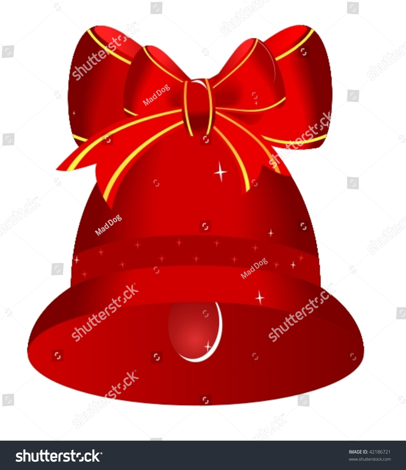Christmas Red Bell Bow Vector Stock 42186721