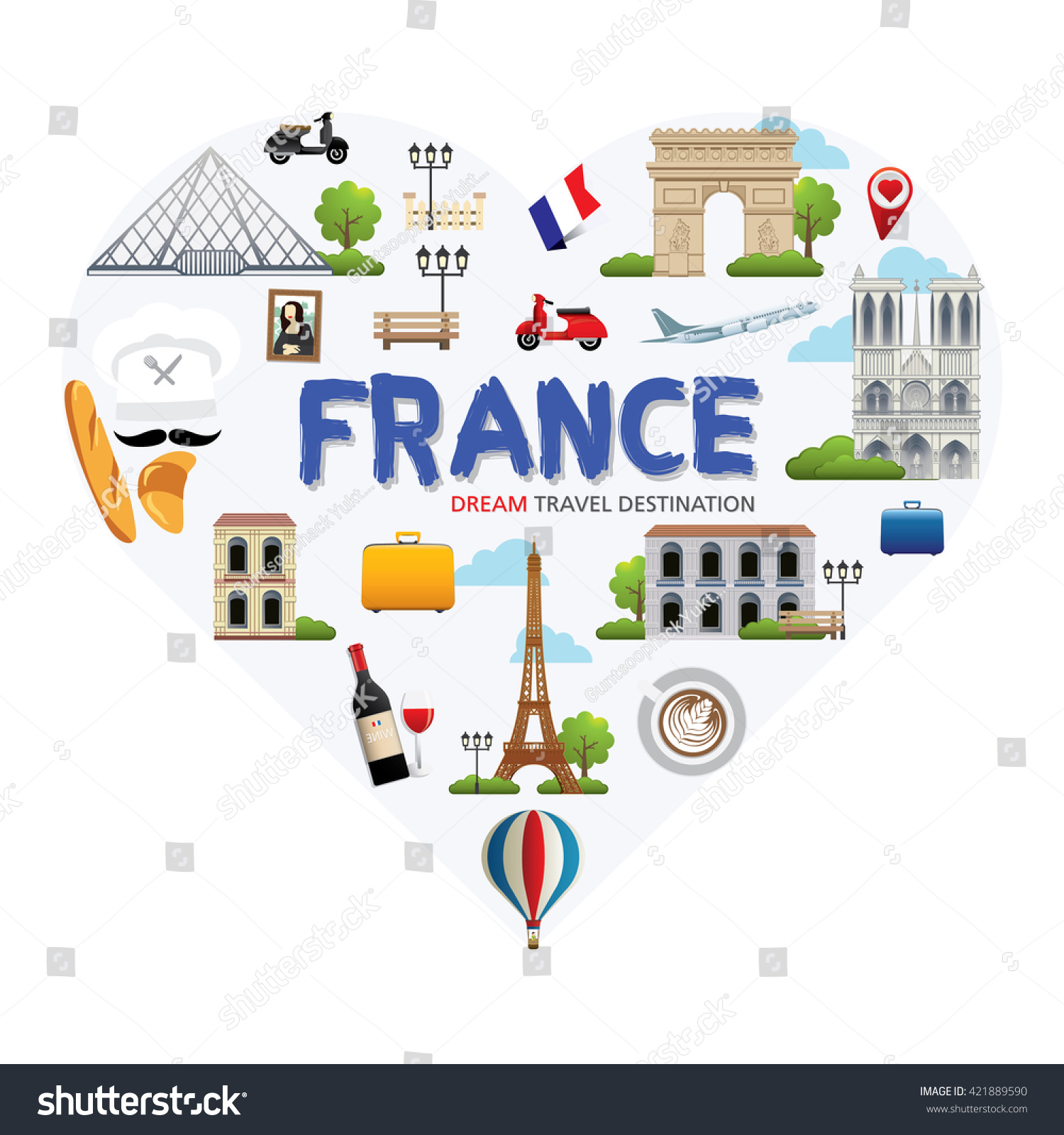 france symbols set heart shape travel stock vector. Black Bedroom Furniture Sets. Home Design Ideas