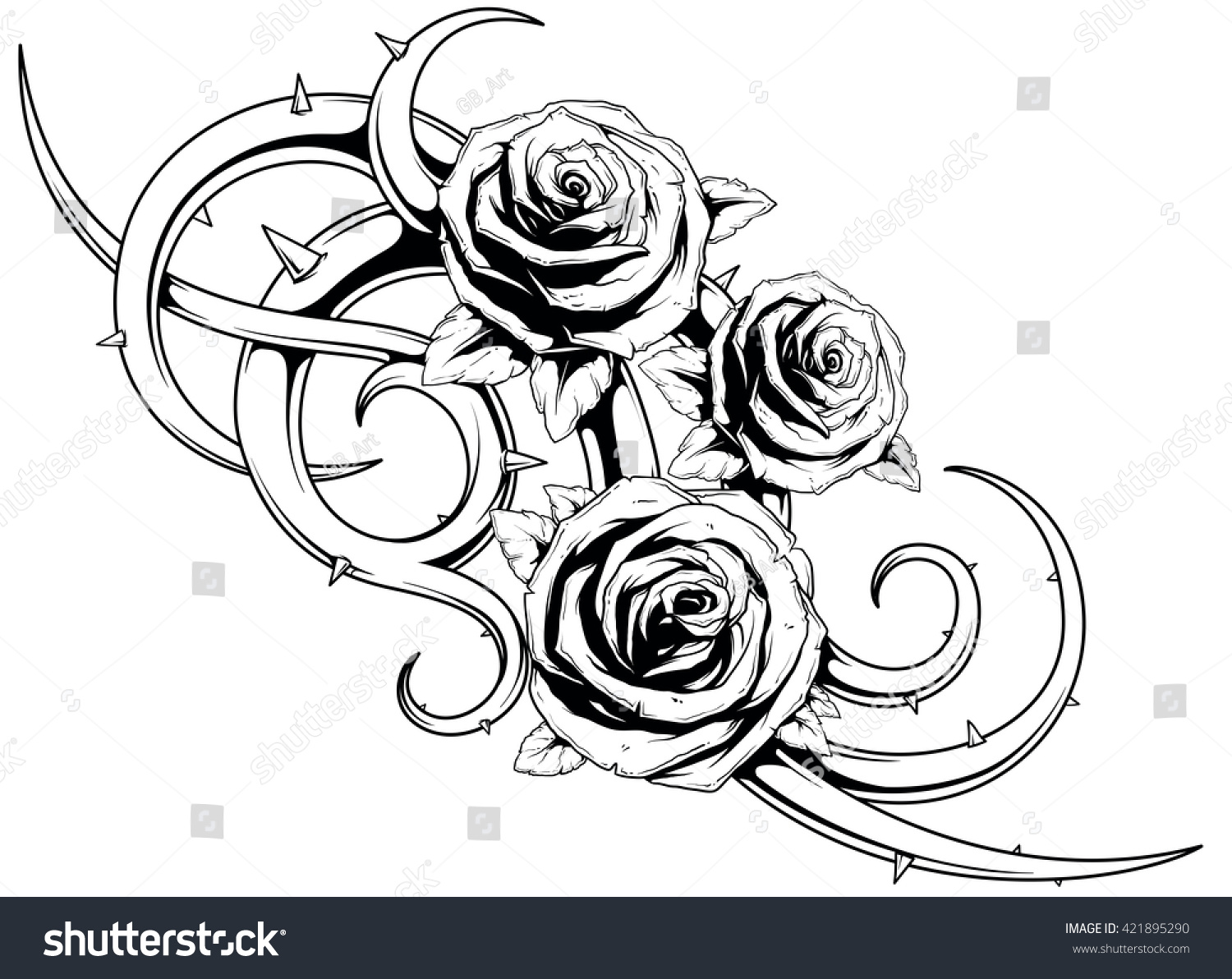 cool roses with spikes tattoo stock vector illustration 421895290 shutterstock. Black Bedroom Furniture Sets. Home Design Ideas
