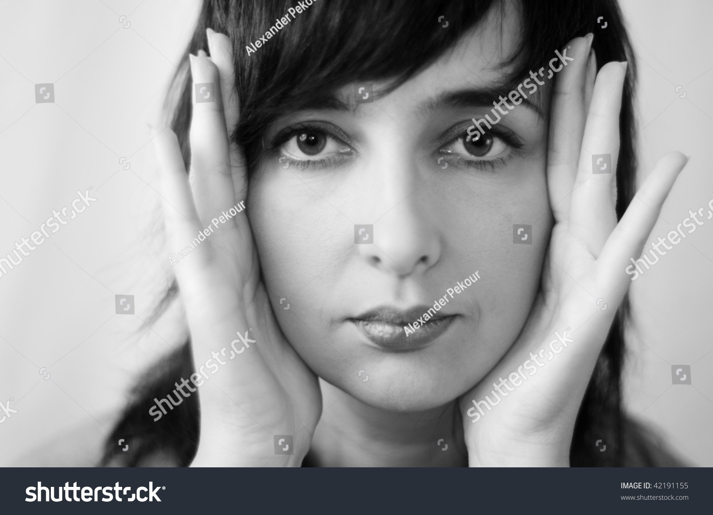Beautiful Woman Face Greyscale Closeup Framing Stock Photo Edit Now 42191155