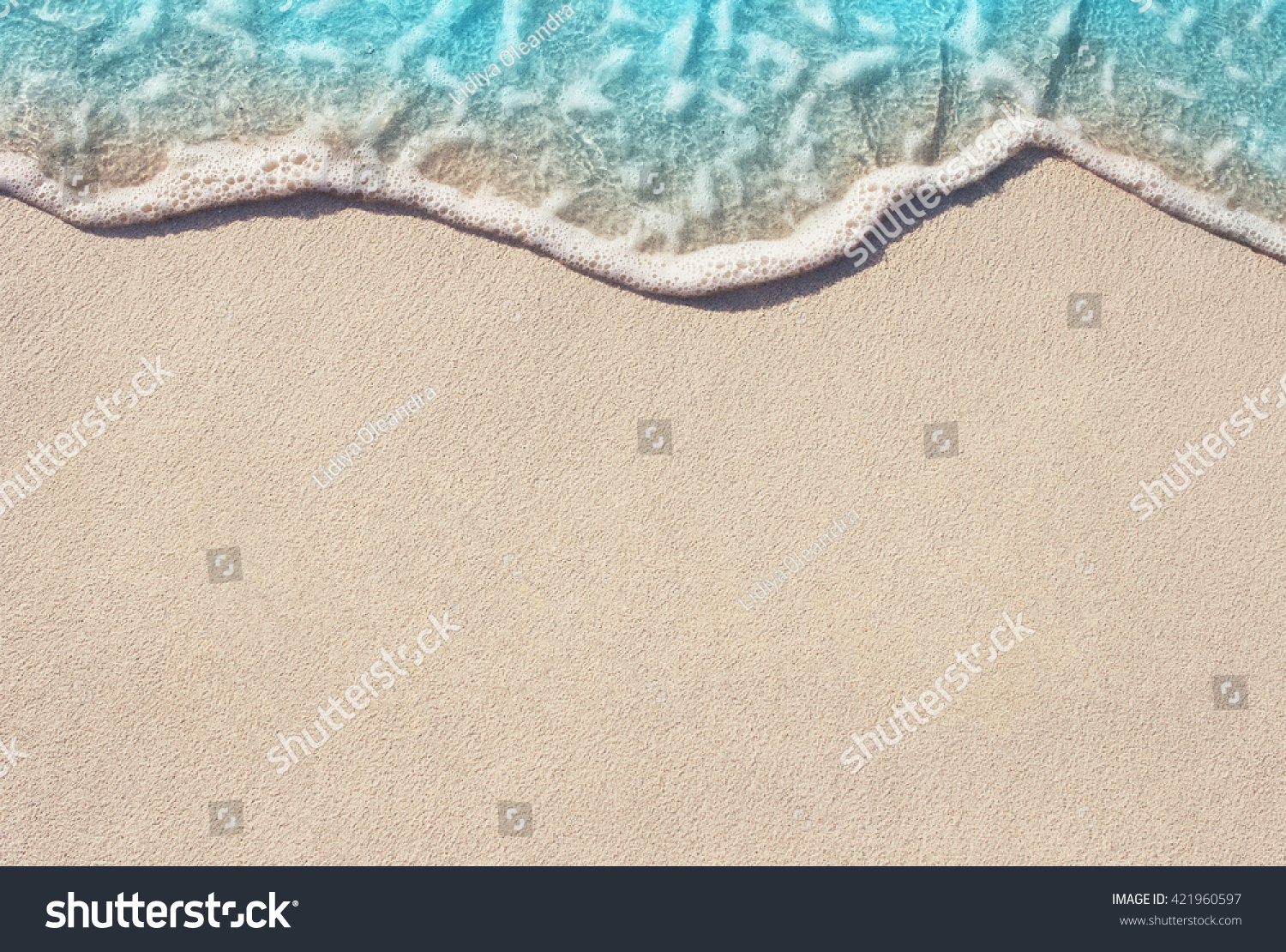 Soft Wave Of Blue Ocean On Sandy Beach. Background. Selective focus.