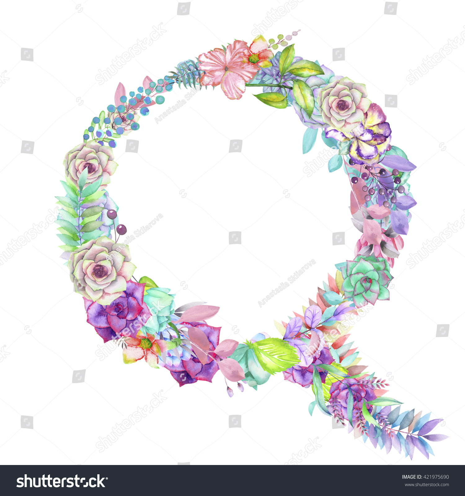 Capital Letter Q Watercolor Flowers Isolated Stock Illustration