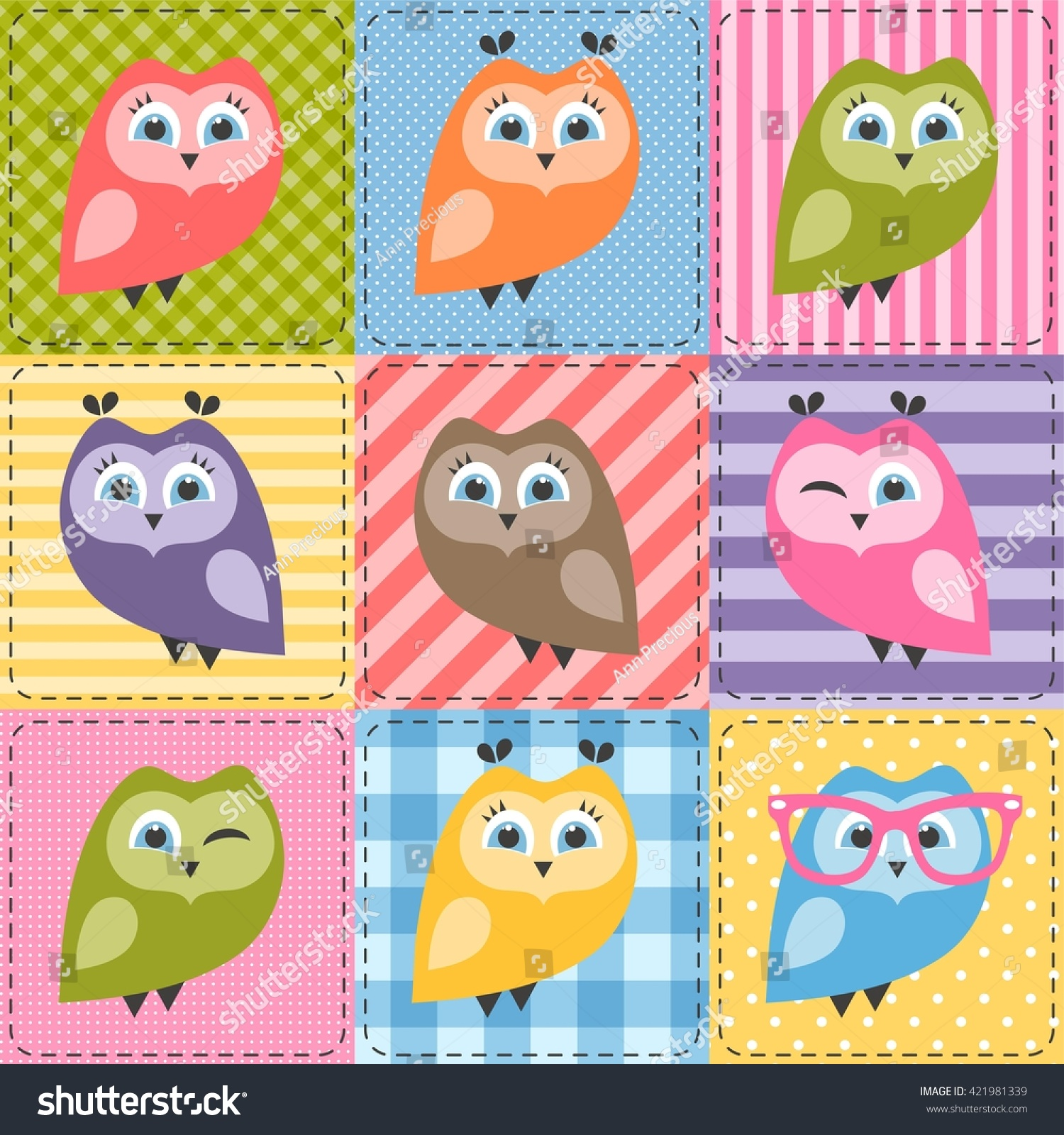 patchwork background colorful owls stock vector 421981339