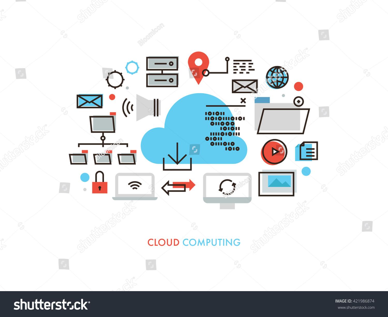 Thin Line Flat Design Cloud Computing Stock Vector 421986874 Shutterstock