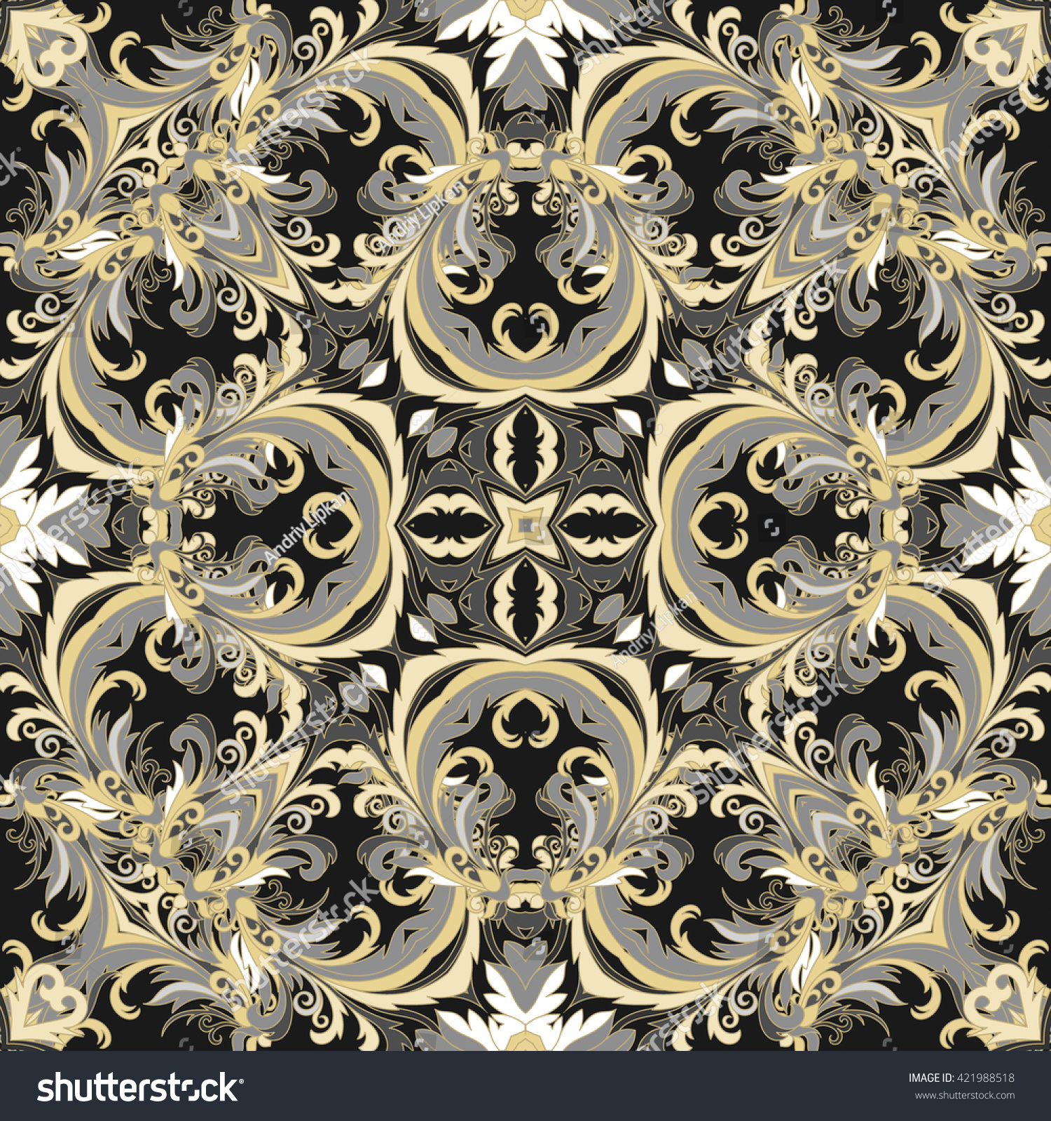 Baroque style floral wallpaper seamless vector stock for Baroque style wallpaper