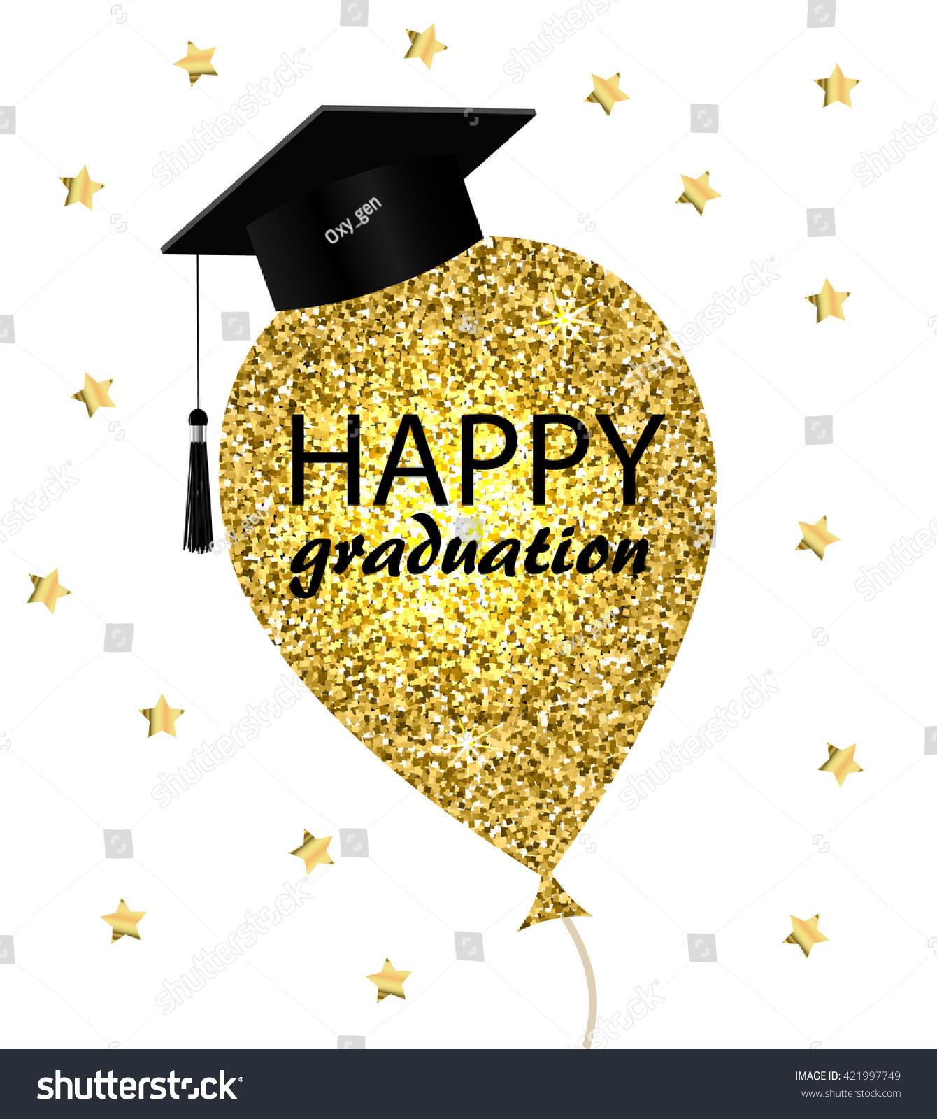 happy graduation card gold balloon graduation stock vector royalty