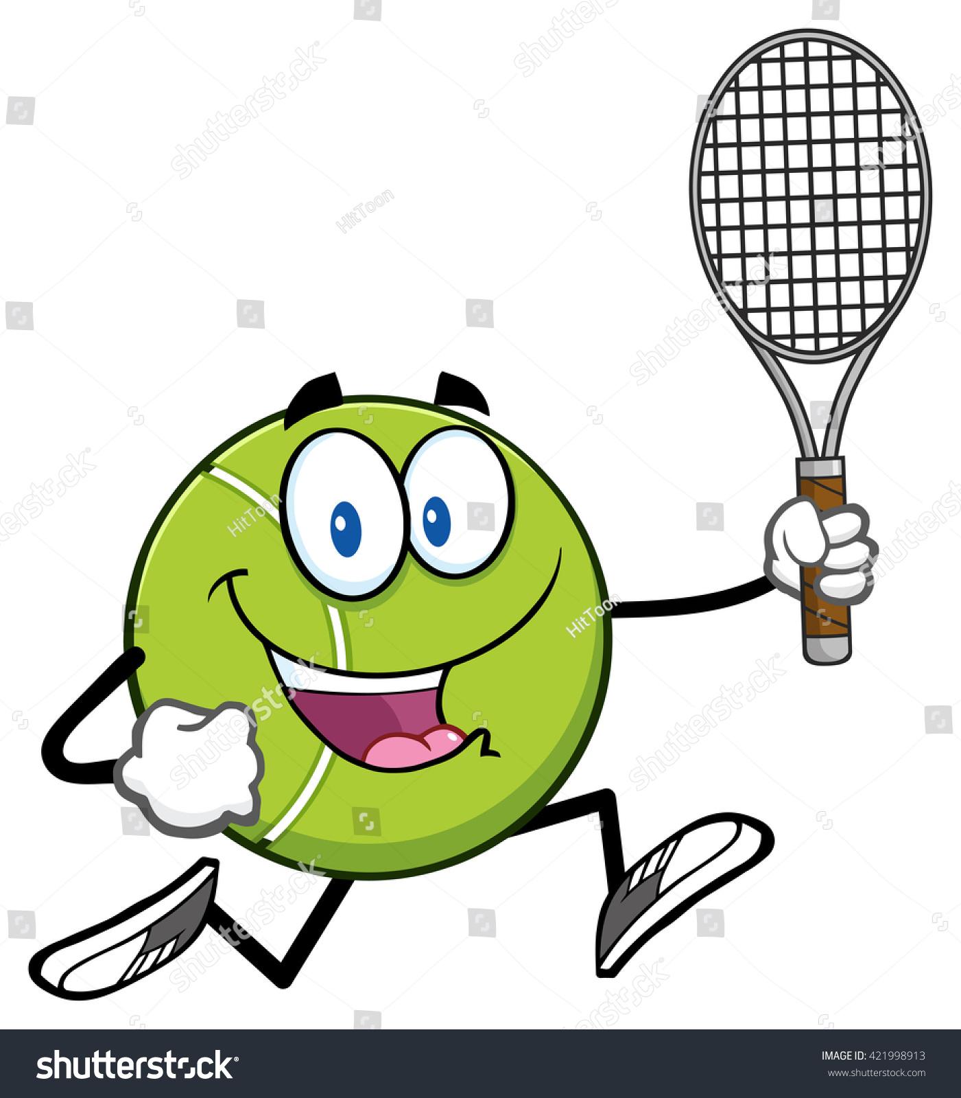 Tennis ball mascot stock photos tennis ball mascot stock photography - Tennis Ball Cartoon Character Running With Racket Raster Illustration Isolated On White