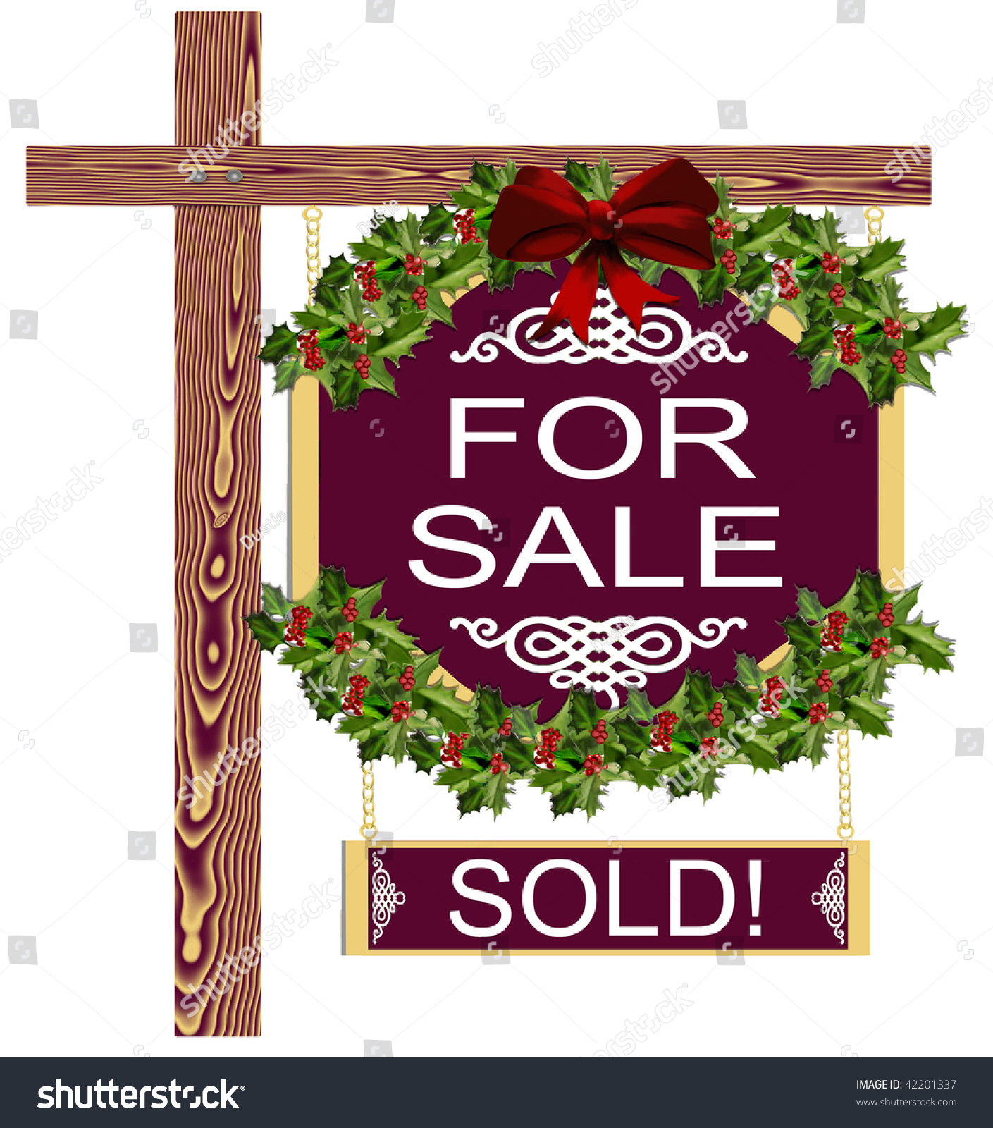 christmas holiday decorated real estate for sale sold sign