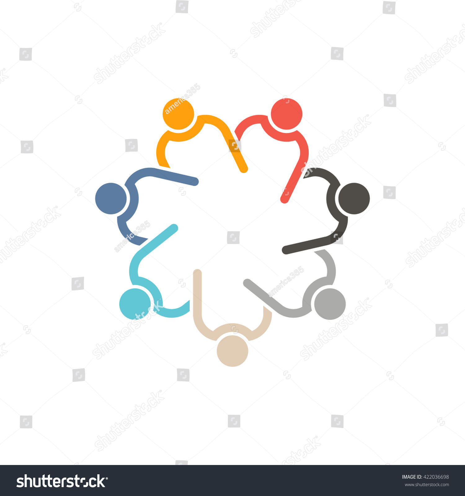 People Helping Each Other: Teamwork 7 Circle Interlacedconcept Group Connected Stock