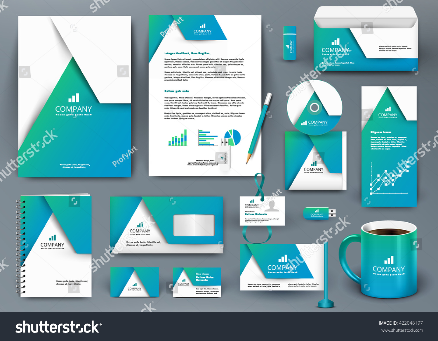 professional universal blue branding design kit stock vector professional universal blue branding design kit origami element corporate identity template business stationery