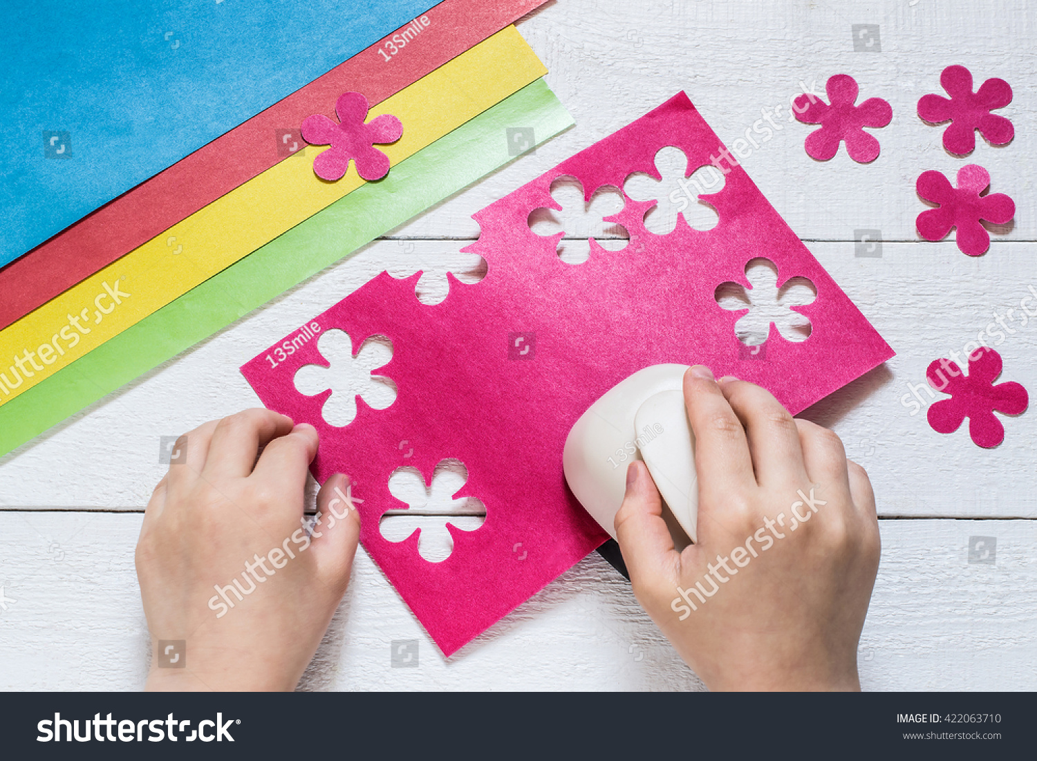 Child Makes Special Hole Punch Flowers Stock Photo Edit Now