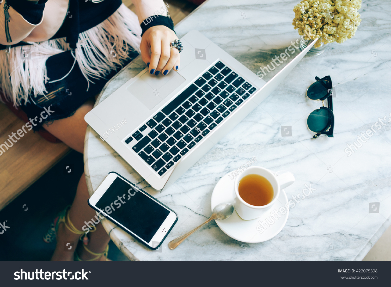 Top view workplace female freelancer who stock photo 422075398 top view of the workplace female freelancer who works remotely while sitting in coffee shop geotapseo Gallery