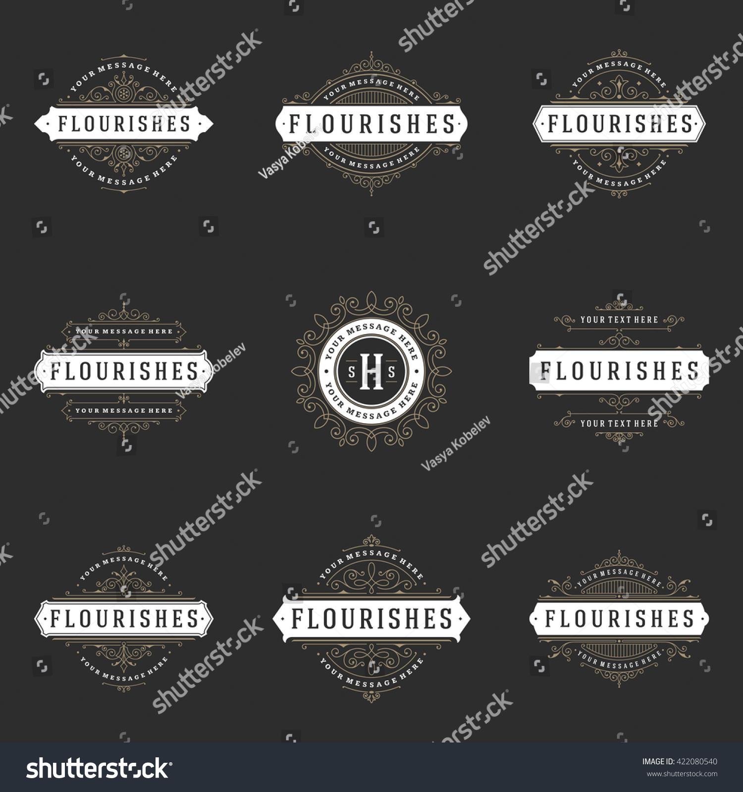 Royal Logos Design Templates Set Flourish Stock Vector (Royalty Free ...