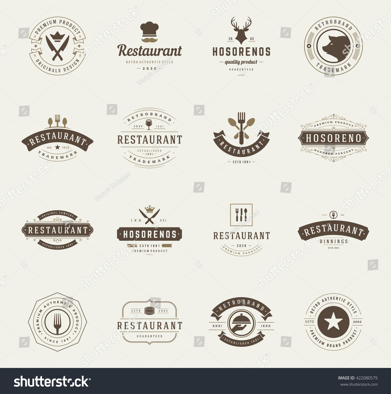 Royalty free vintage restaurant logos design 422080579 stock vintage restaurant logos design templates set vector design elements restaurant and cafe icons buycottarizona Image collections