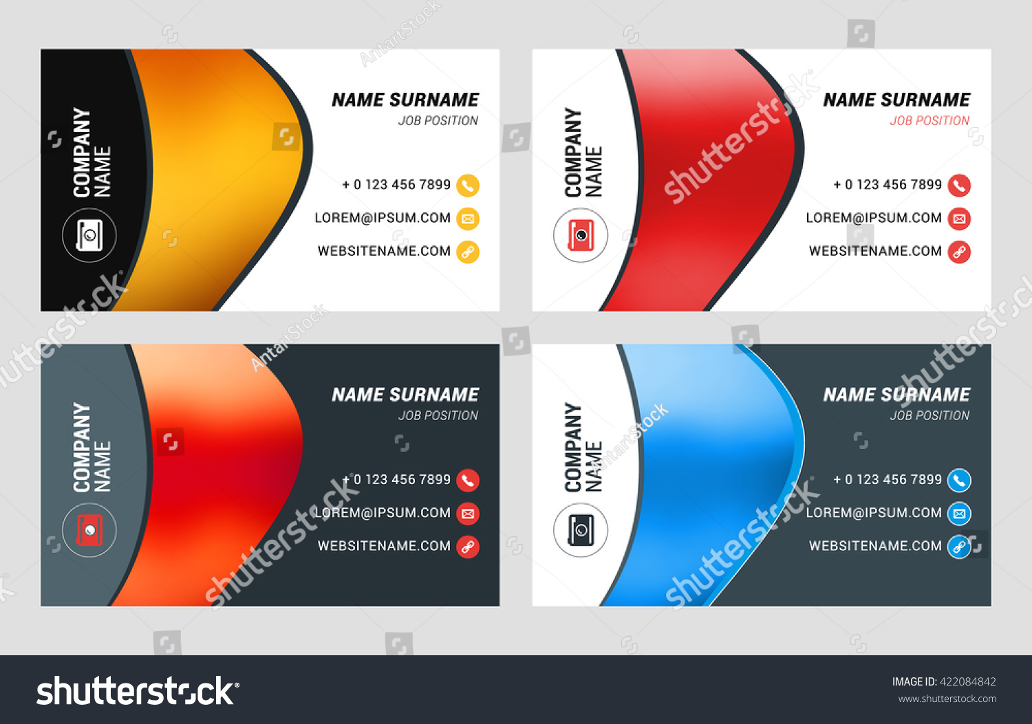 Business Card Vector Template Flat Style Stock Vector 422084842 ...