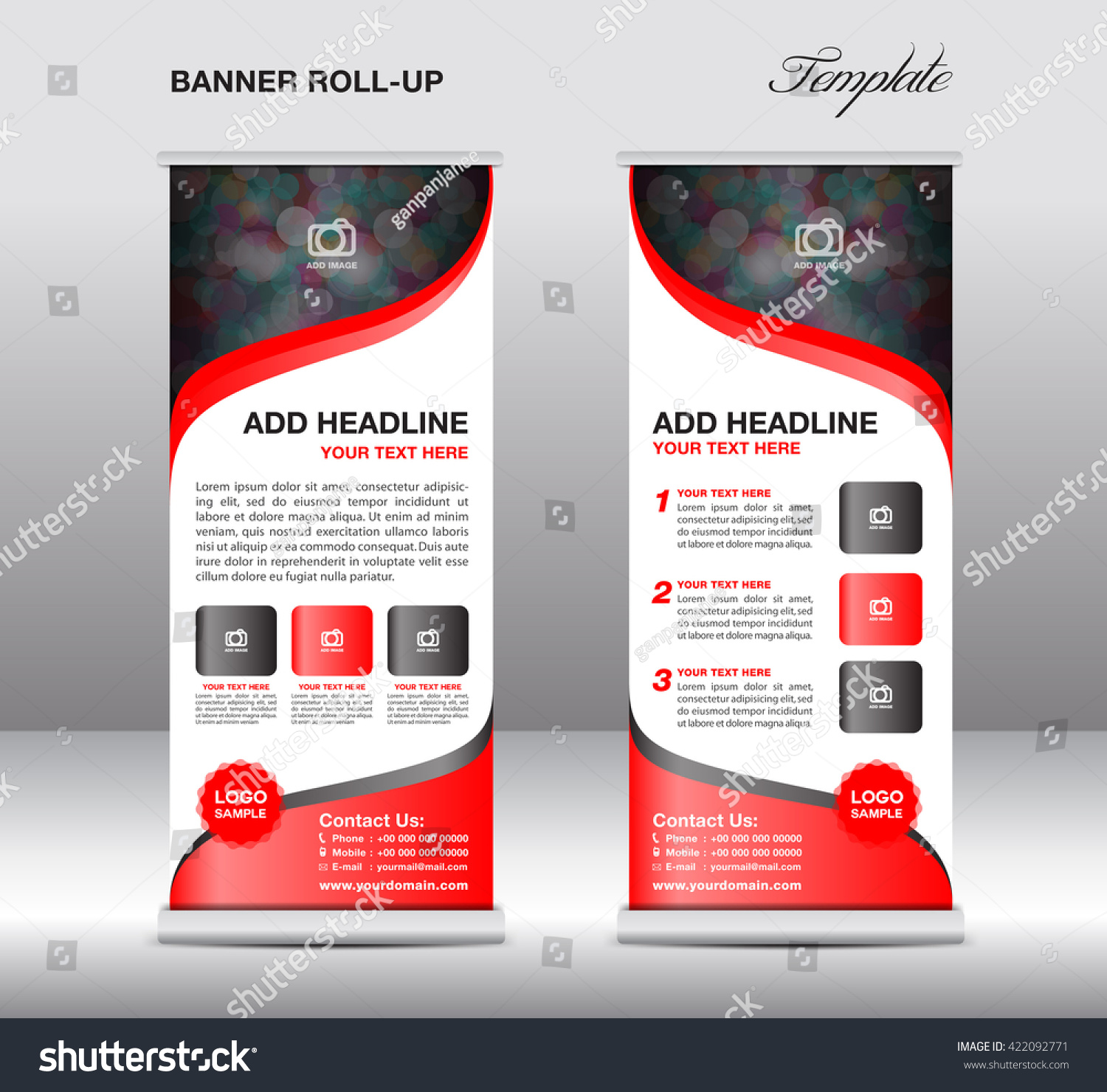 red roll up banner stand template flyer layout presentation roll up banner stand template presentation red background advertisement display flyer