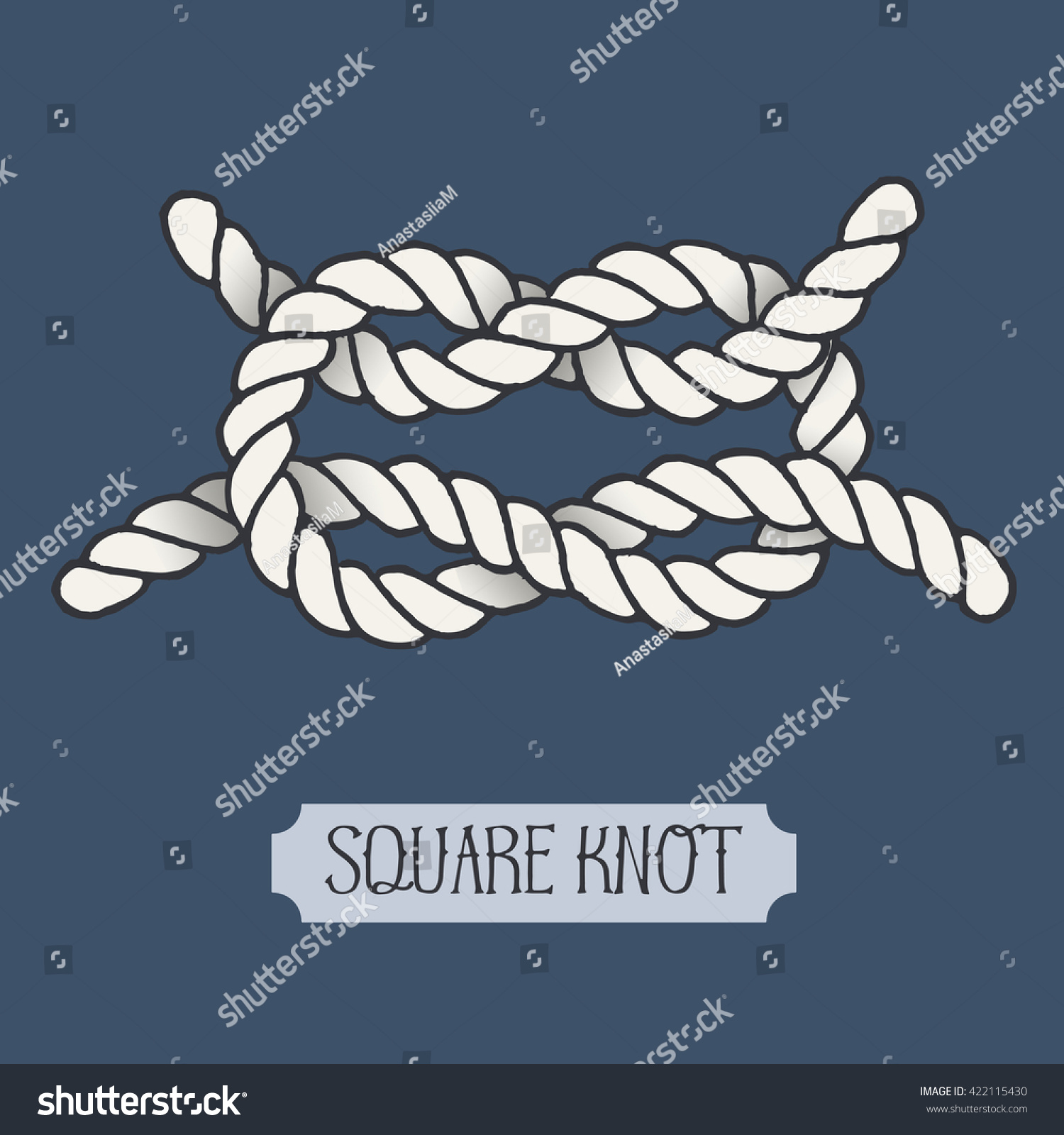 Single Illustration Nautical Square Knot Marine Stock Vector Bowline Diagram Clipart Best Of Rope Sign Artistic Hand Drawn Graphic Design