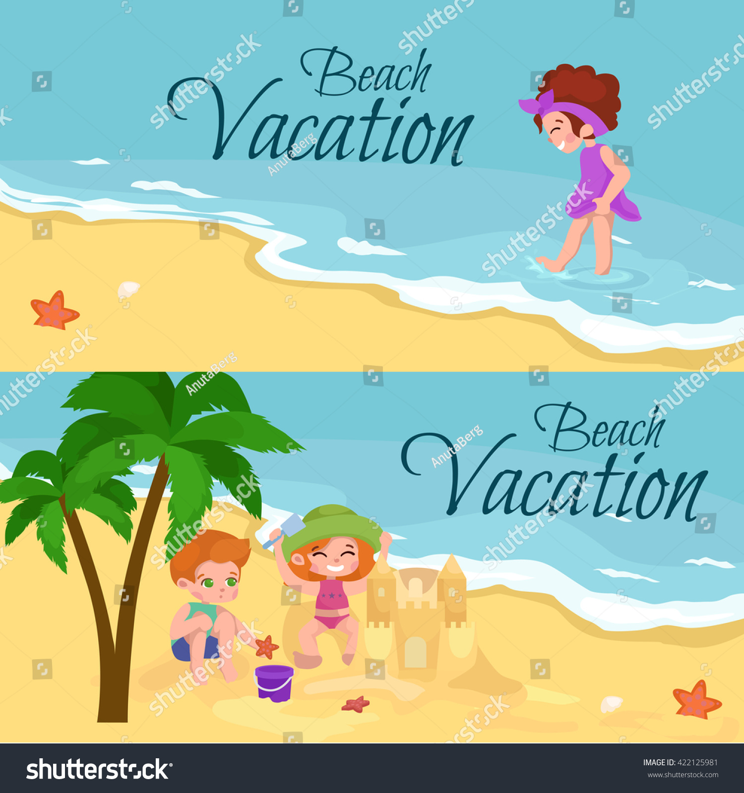 Summer Children Travel PosterFlyer With Kids Playing In The Sand On Beach Doing