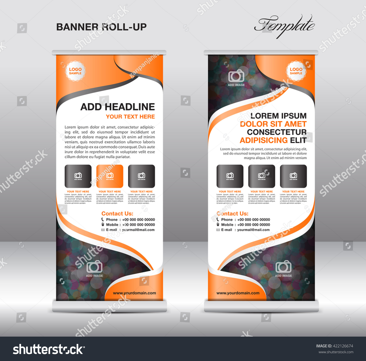 orange roll banner stand template advertisement stock vector orange roll up banner stand template advertisement presentation flyer deisgn display vector