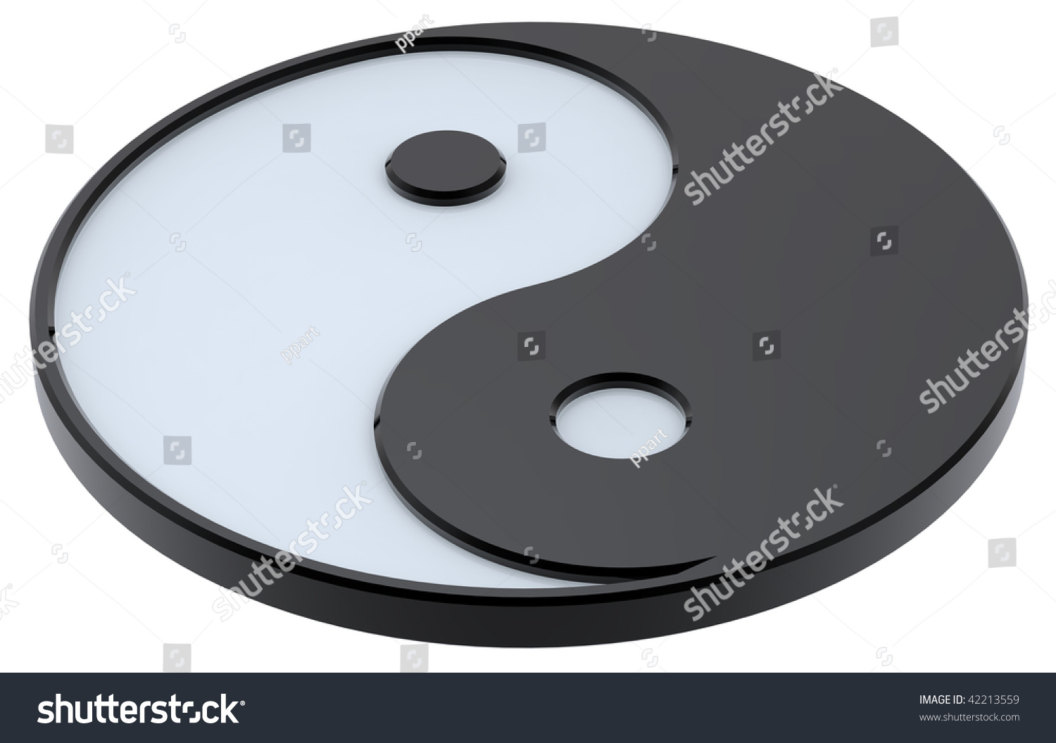Black White Yinyang Symbol Harmony Computer Stock Illustration