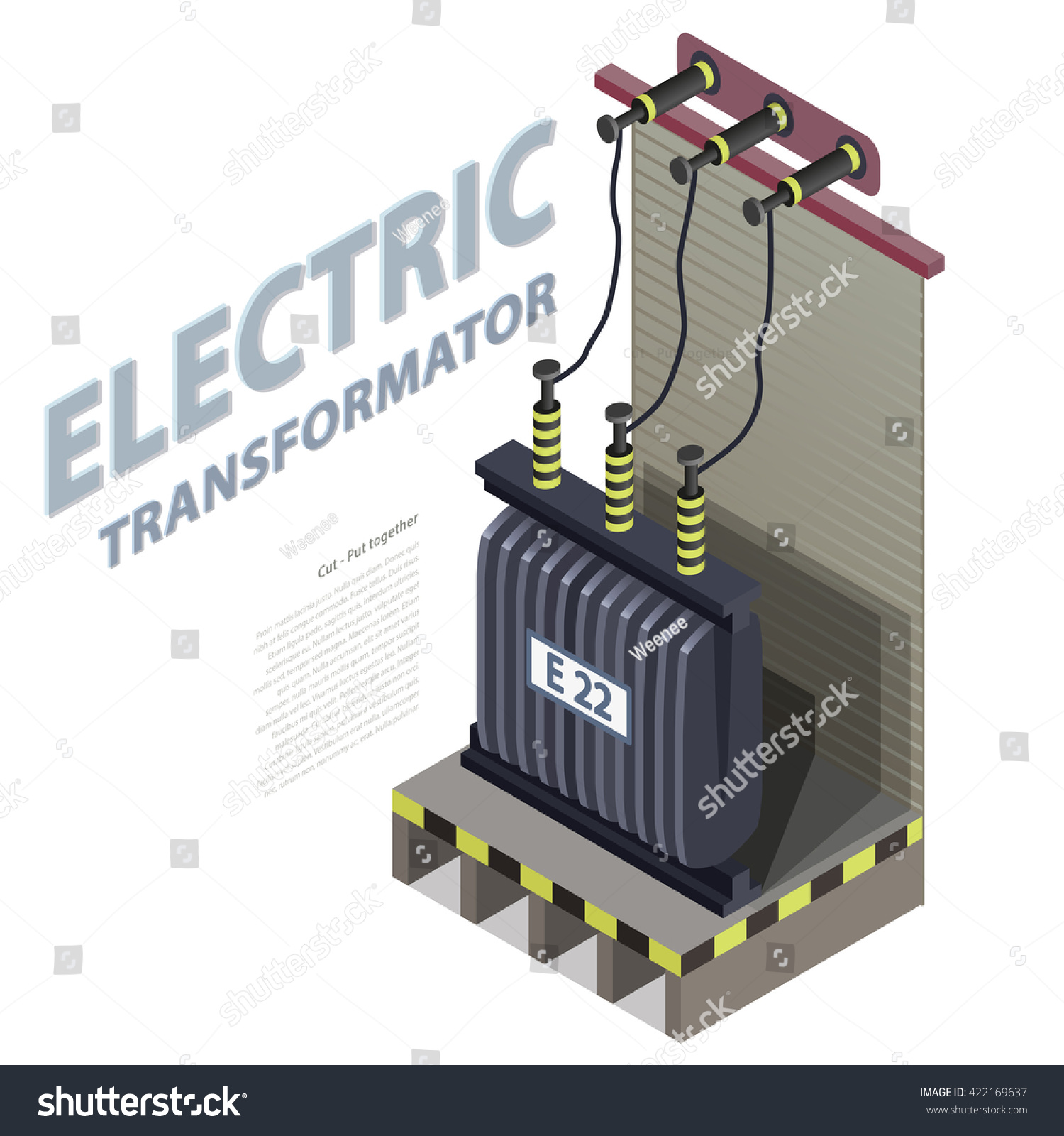 Electric Transformer Isometric Building Info Graphic Stock Vector Isolation Wiring Diagram Looking For An Advice To Build High Voltage Power Station Old Plant Architecture