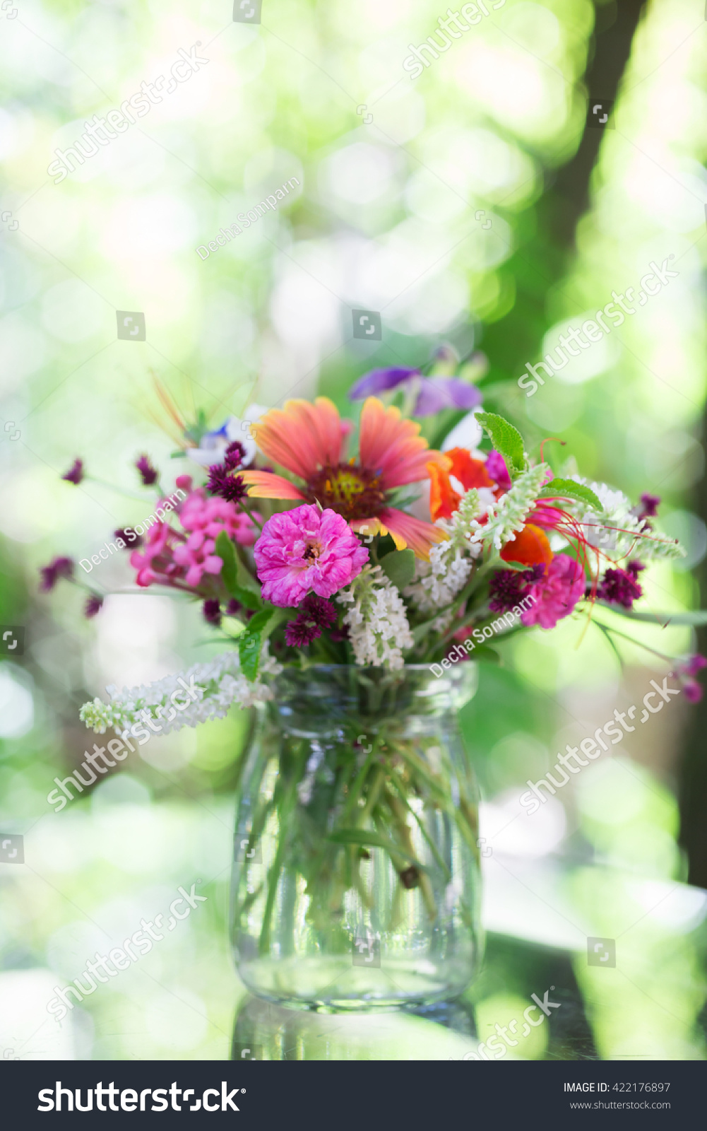 Good Morning Bouquet Flowers On Table Stock Photo Edit Now
