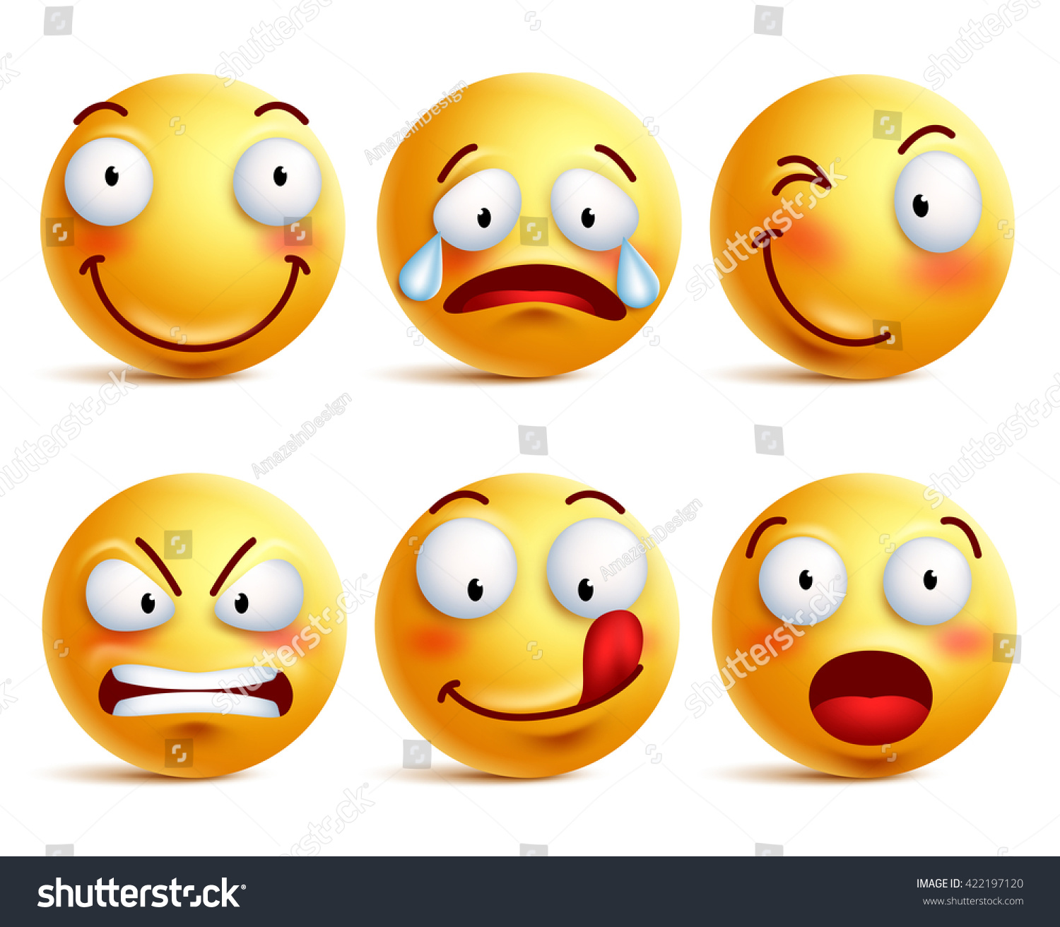 set smiley face icons yellow emoticons stock vector 422197120