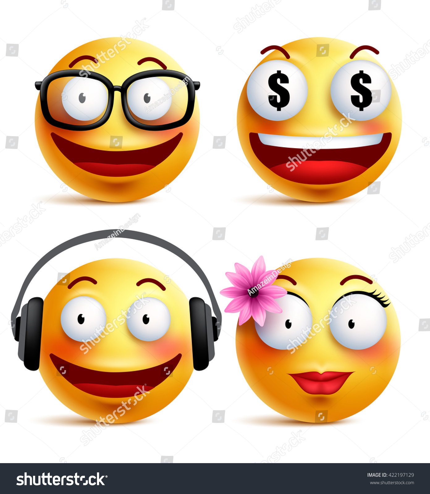 Emoji Yellow Emoticons Smiley Faces Collection Stock Vector Royalty