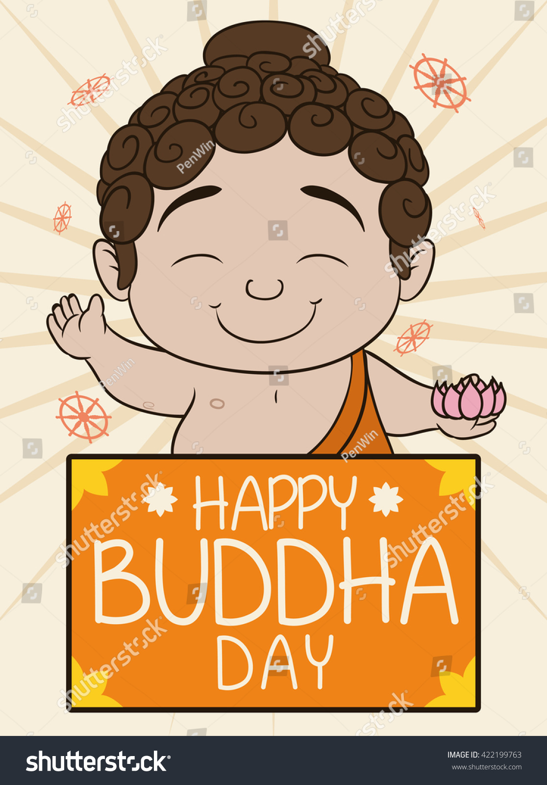 Pretty baby buddha lotus his hand stock vector 422199763 shutterstock pretty baby buddha with a lotus in his hand and greeting message commemorating vesak celebration kristyandbryce Images