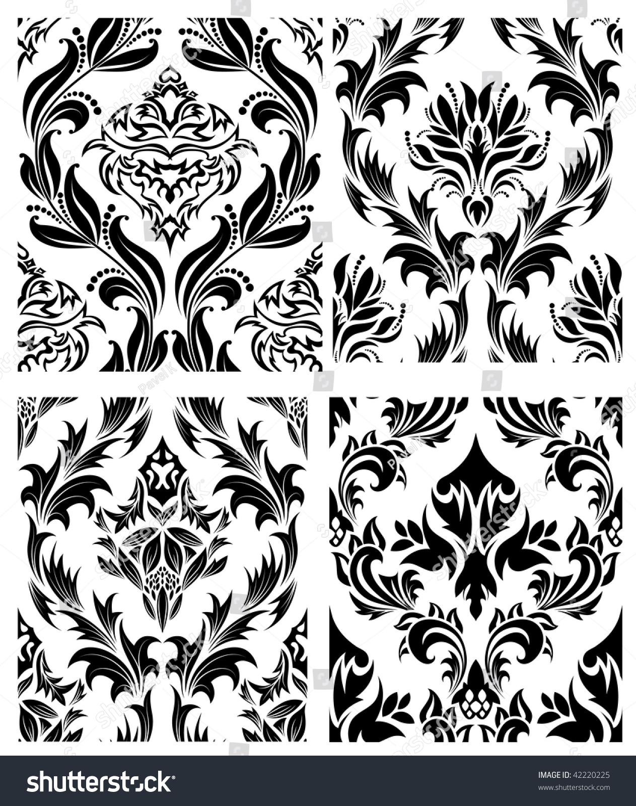 Damask Seamless Vector Patterns Set. For Easy Making ...